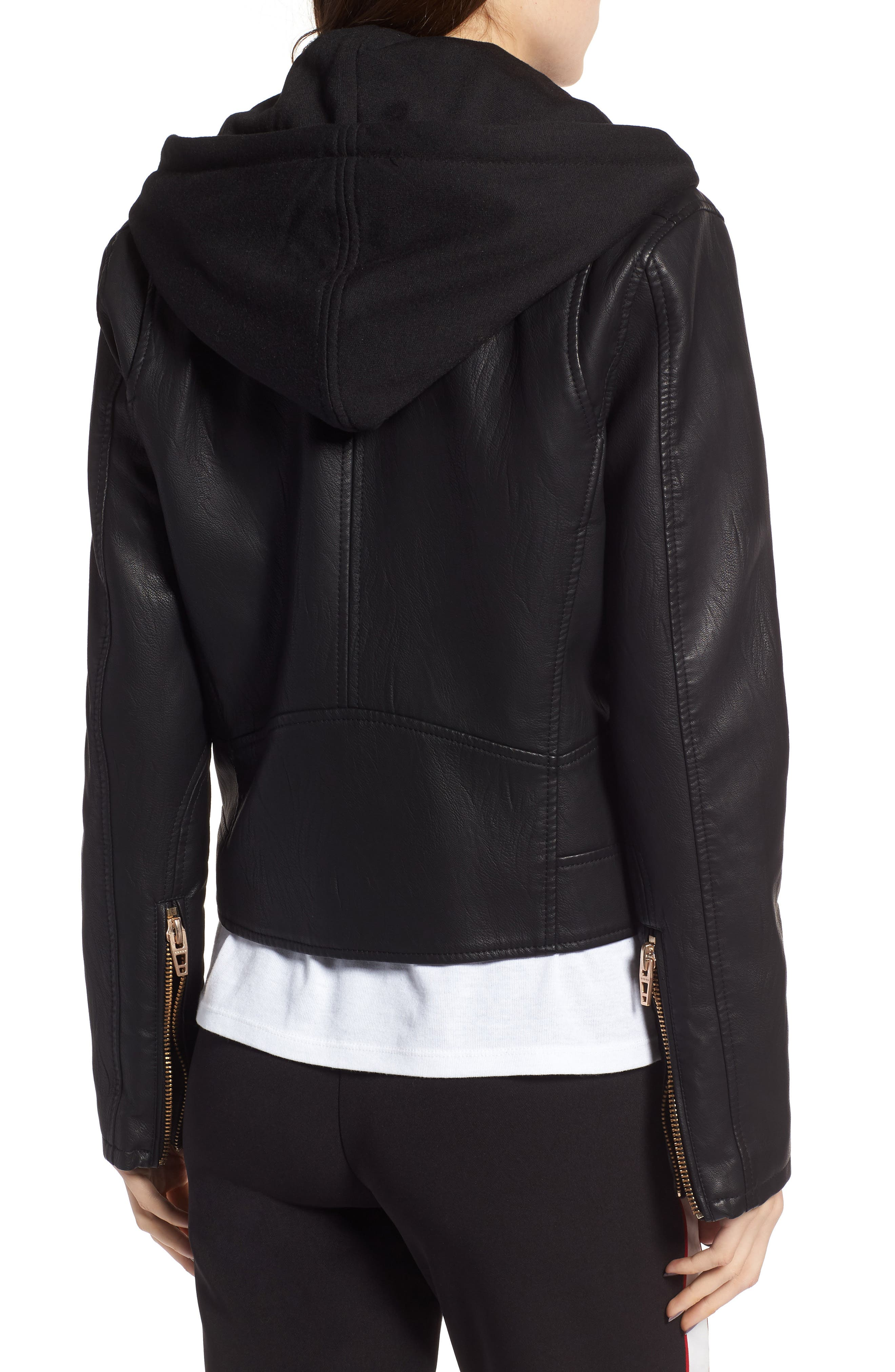 BLANKNYC, Meant to Be Moto Jacket with Removable Hood, Alternate thumbnail 2, color, BLACK