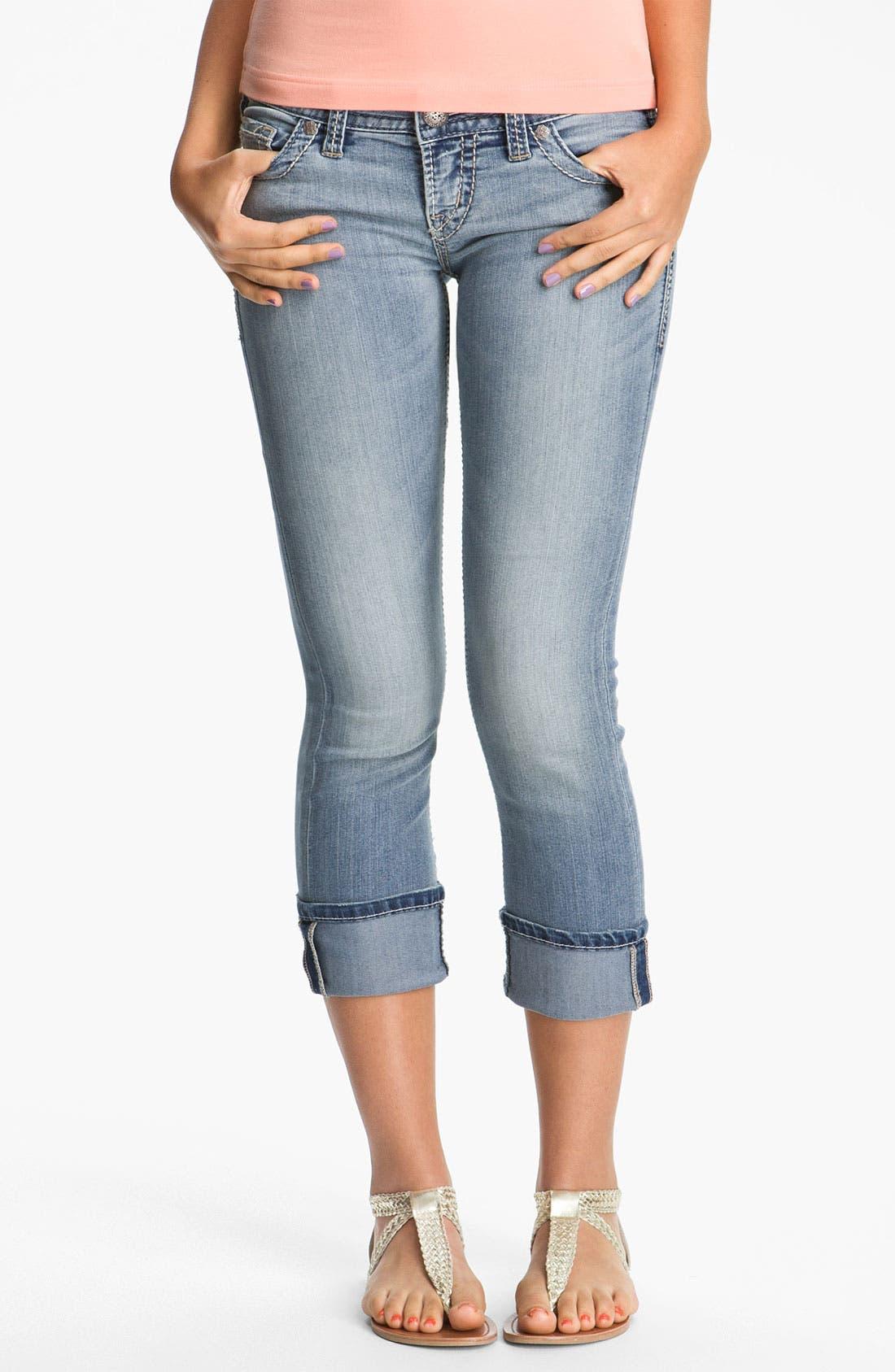 SILVER JEANS CO. Silver Jeans 'Santorini' Crop Stretch Jeans, Main, color, 402