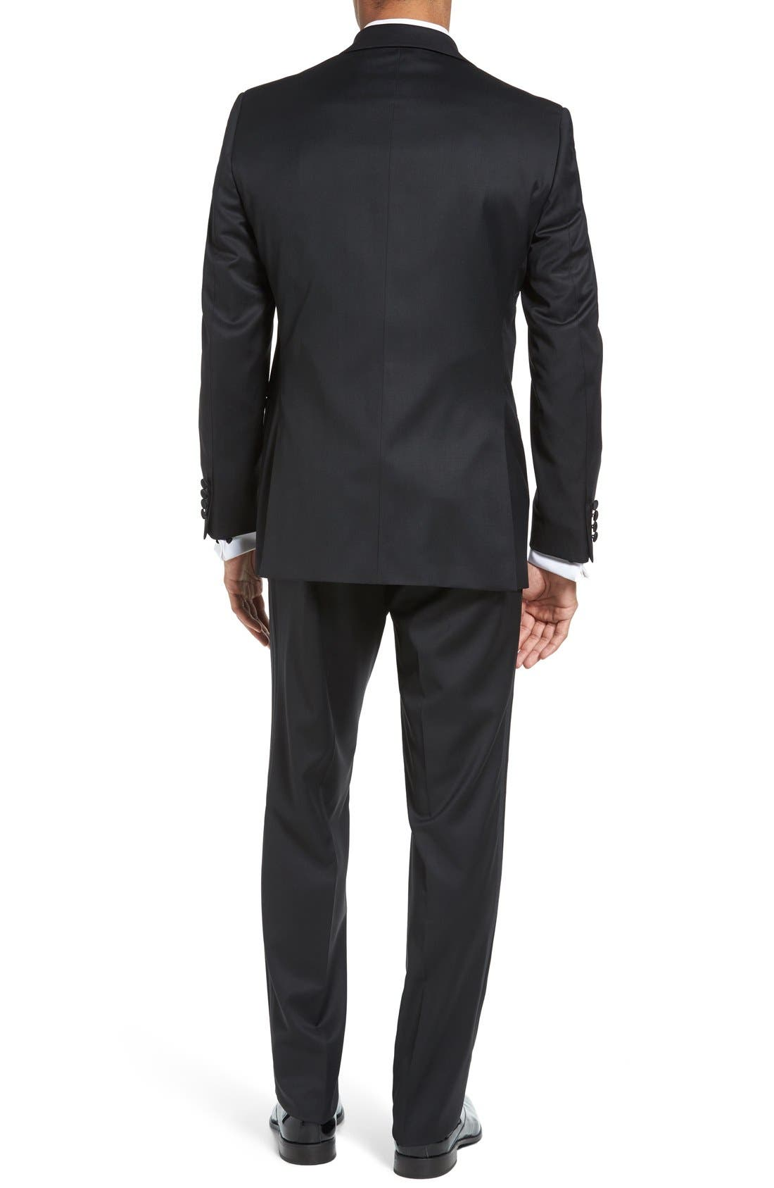 DAVID DONAHUE, Russell Classic Fit Loro Piana Wool Tuxedo, Alternate thumbnail 2, color, BLACK