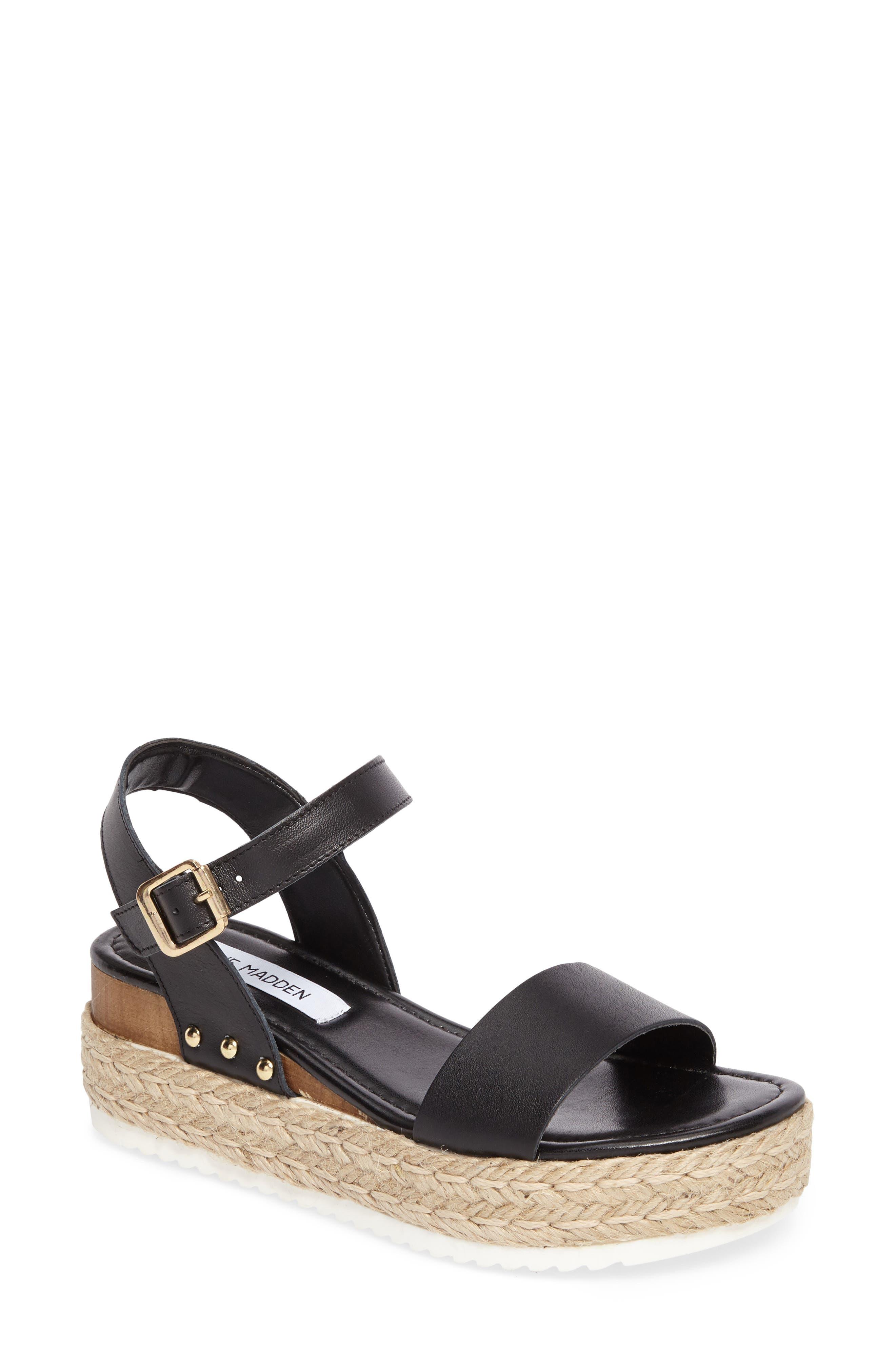 STEVE MADDEN Chiara Platform Espadrille Sandal, Main, color, BLACK LEATHER