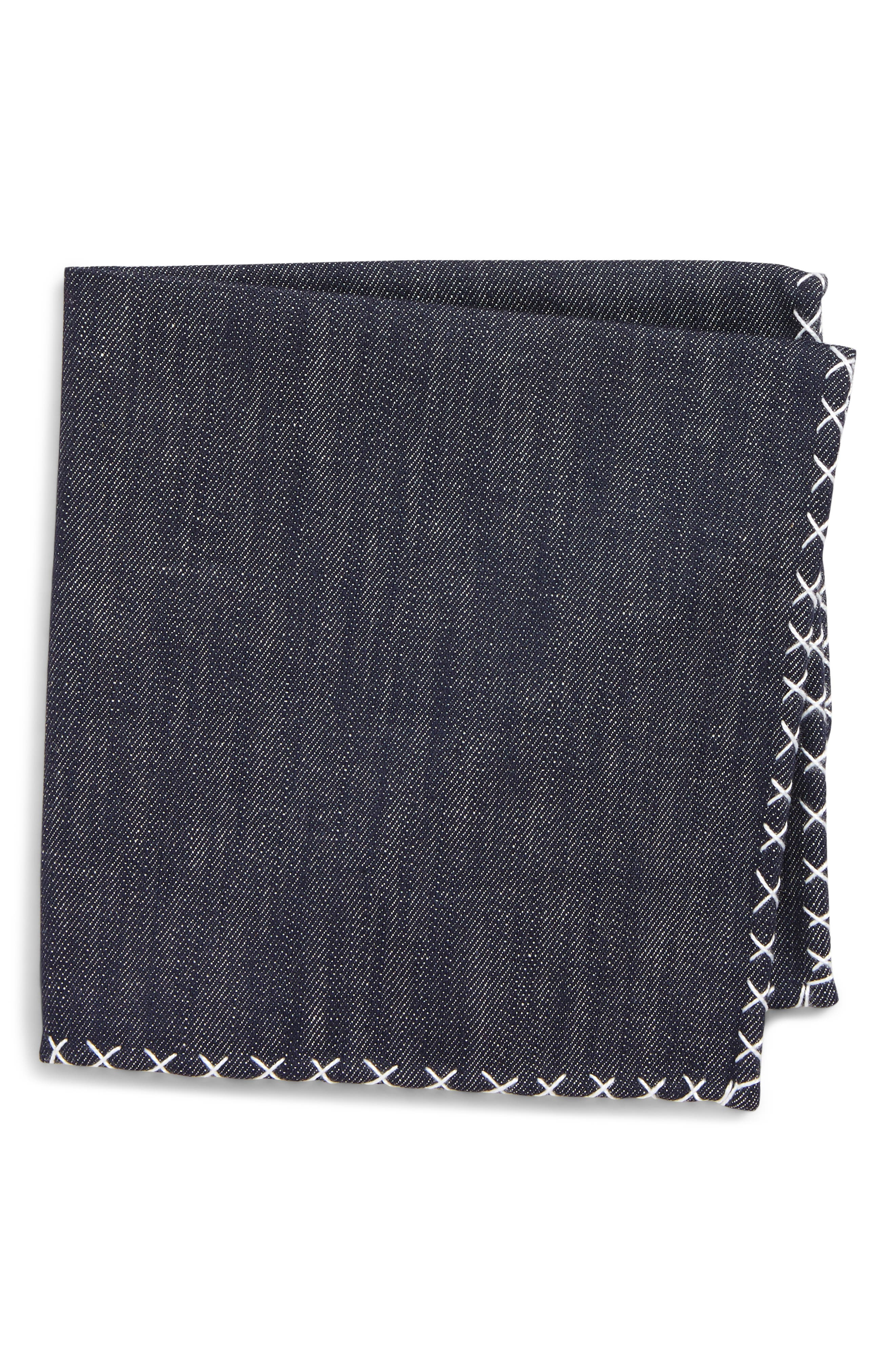 ELEVENTY, Denim Cotton Pocket Square, Main thumbnail 1, color, DENIM/ WHITE