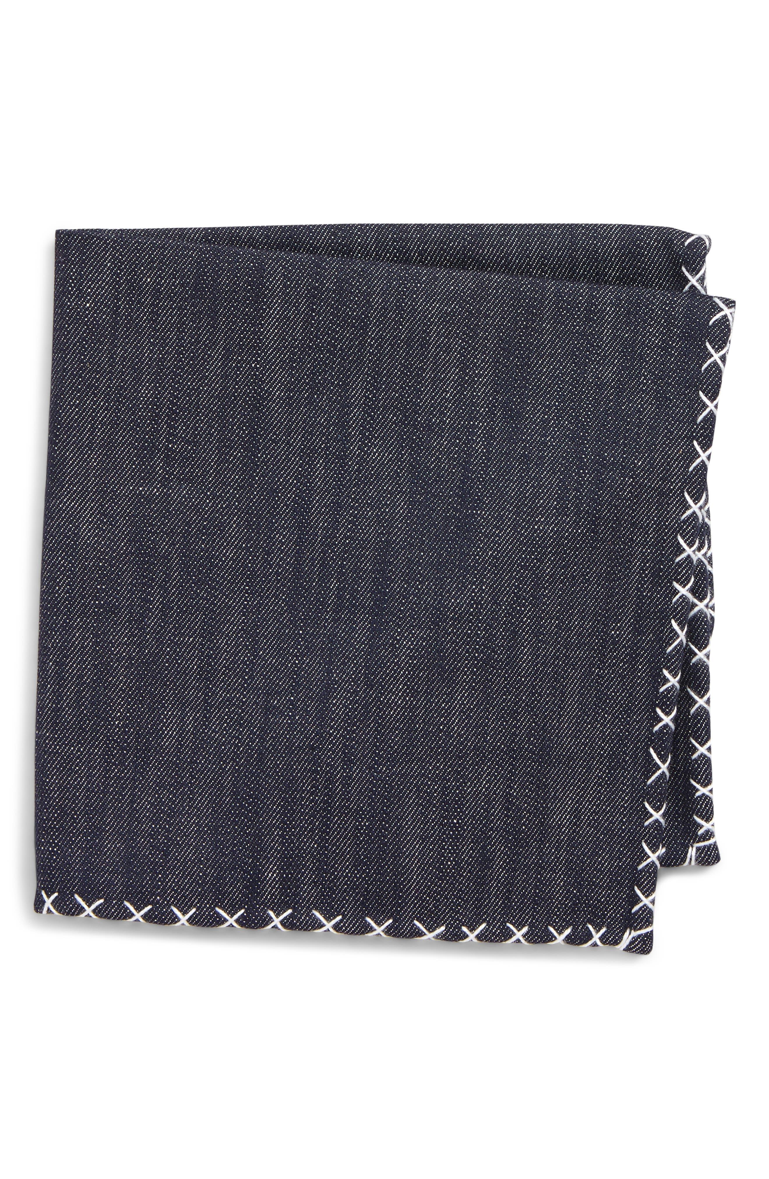 ELEVENTY Denim Cotton Pocket Square, Main, color, DENIM/ WHITE