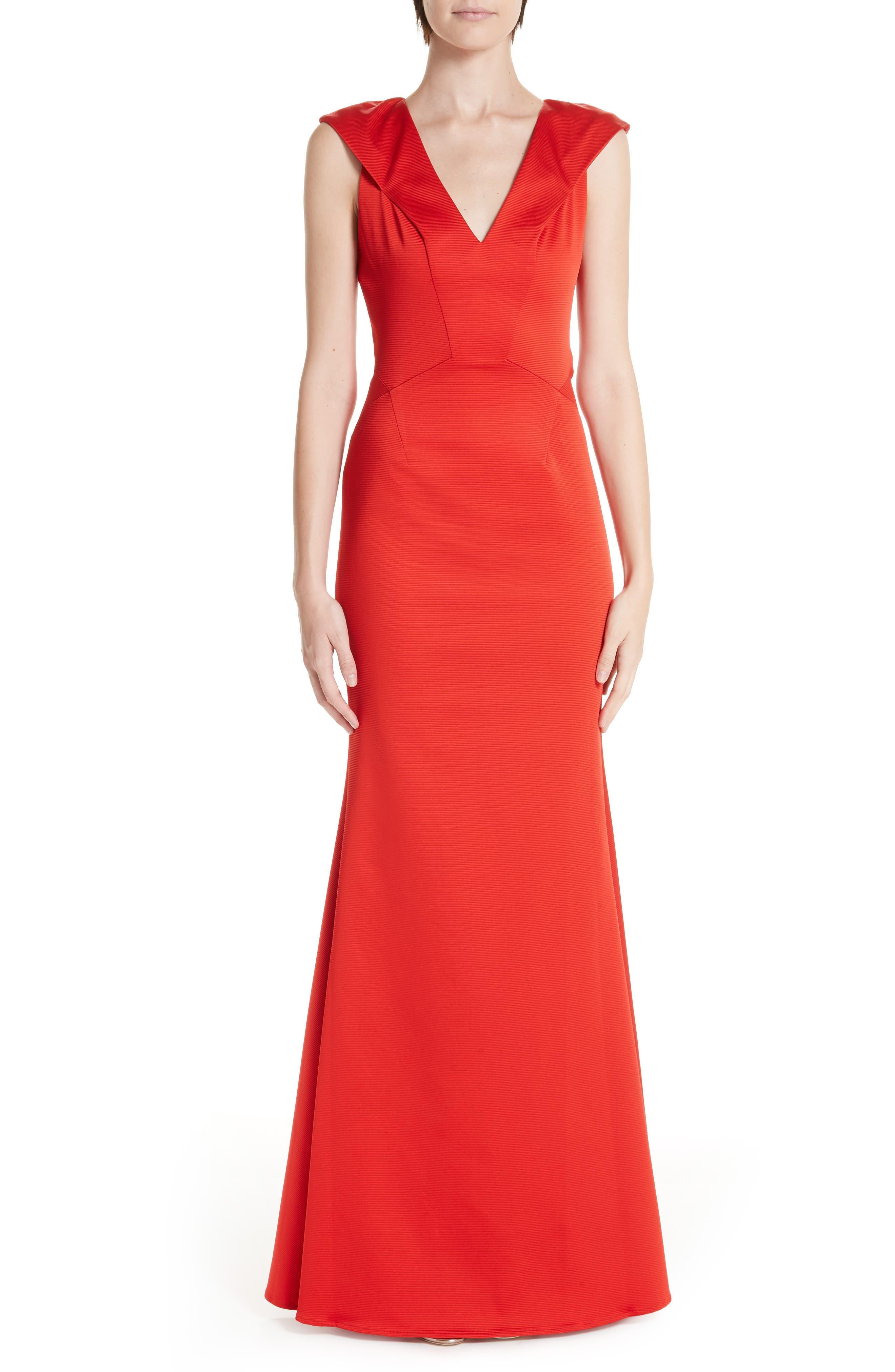 ZAC ZAC POSEN, Nina Trumpet Gown, Main thumbnail 1, color, RED
