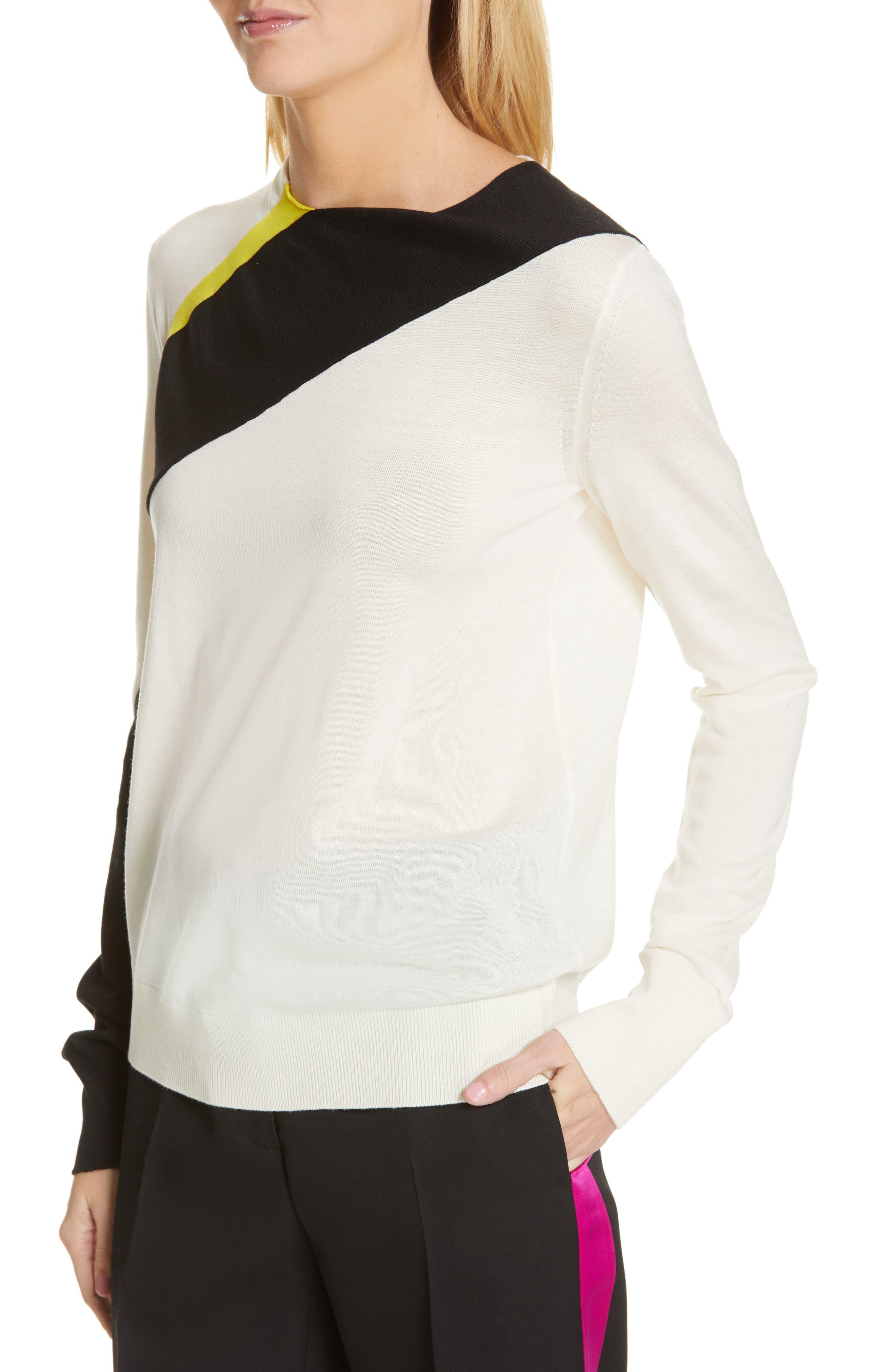 CALVIN KLEIN 205W39NYC, Contrast Stripe Wool Blend Sweater, Alternate thumbnail 5, color, WHITE BLACK TOURNESOL