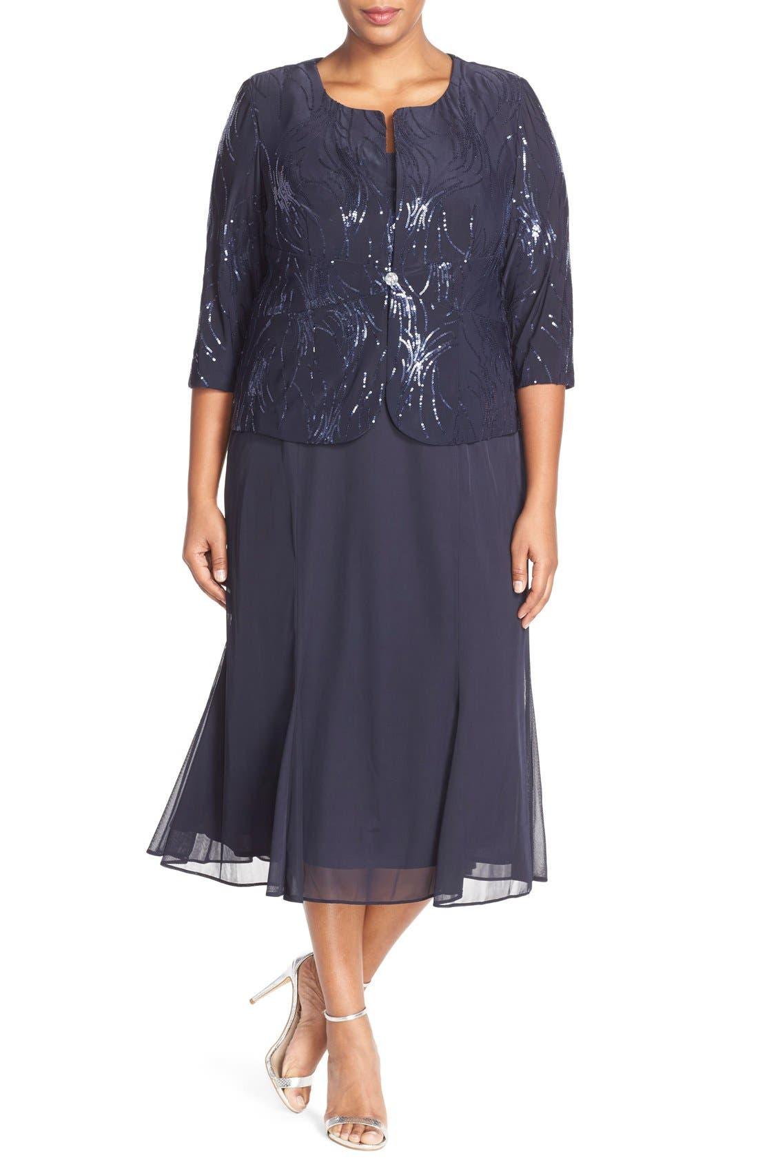 Plus Size Vintage Dresses, Plus Size Retro Dresses Plus Size Womens Alex Evenings Sequin Mock Two-Piece Dress With Jacket Size 24W - Blue $146.30 AT vintagedancer.com