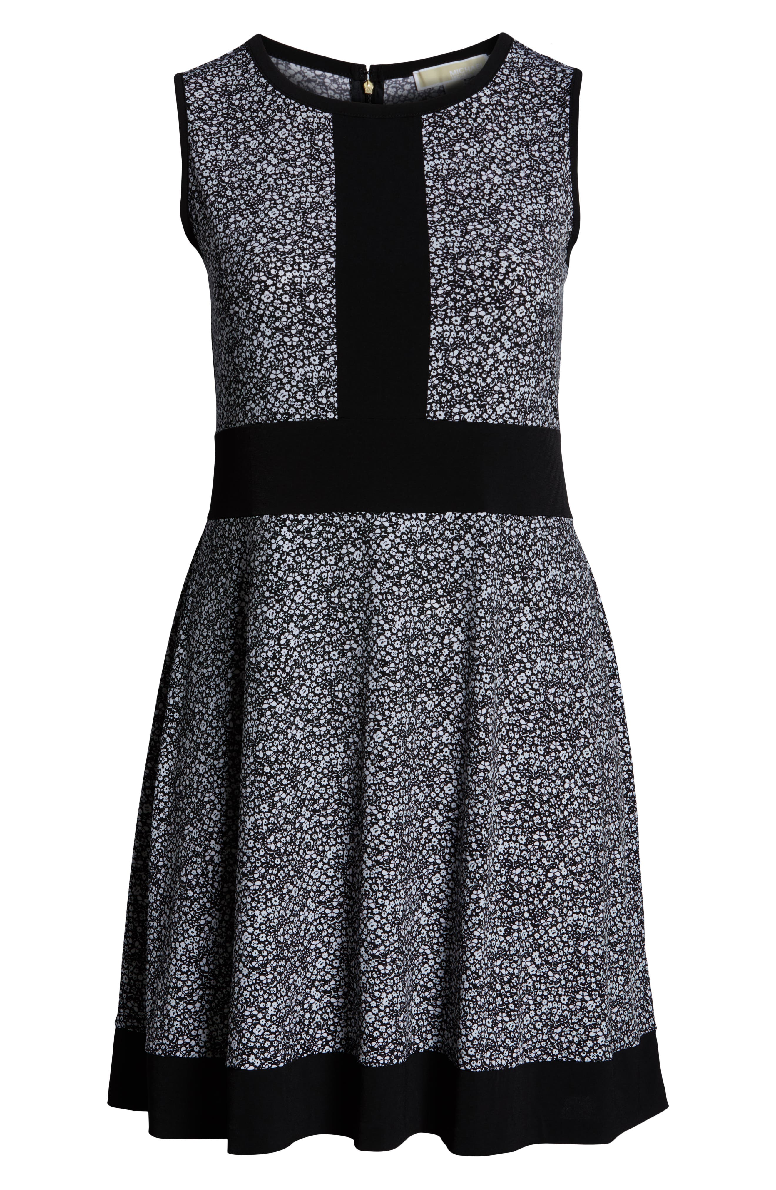 MICHAEL MICHAEL KORS, Spring Twist Dress, Alternate thumbnail 7, color, BLACK/ WHITE