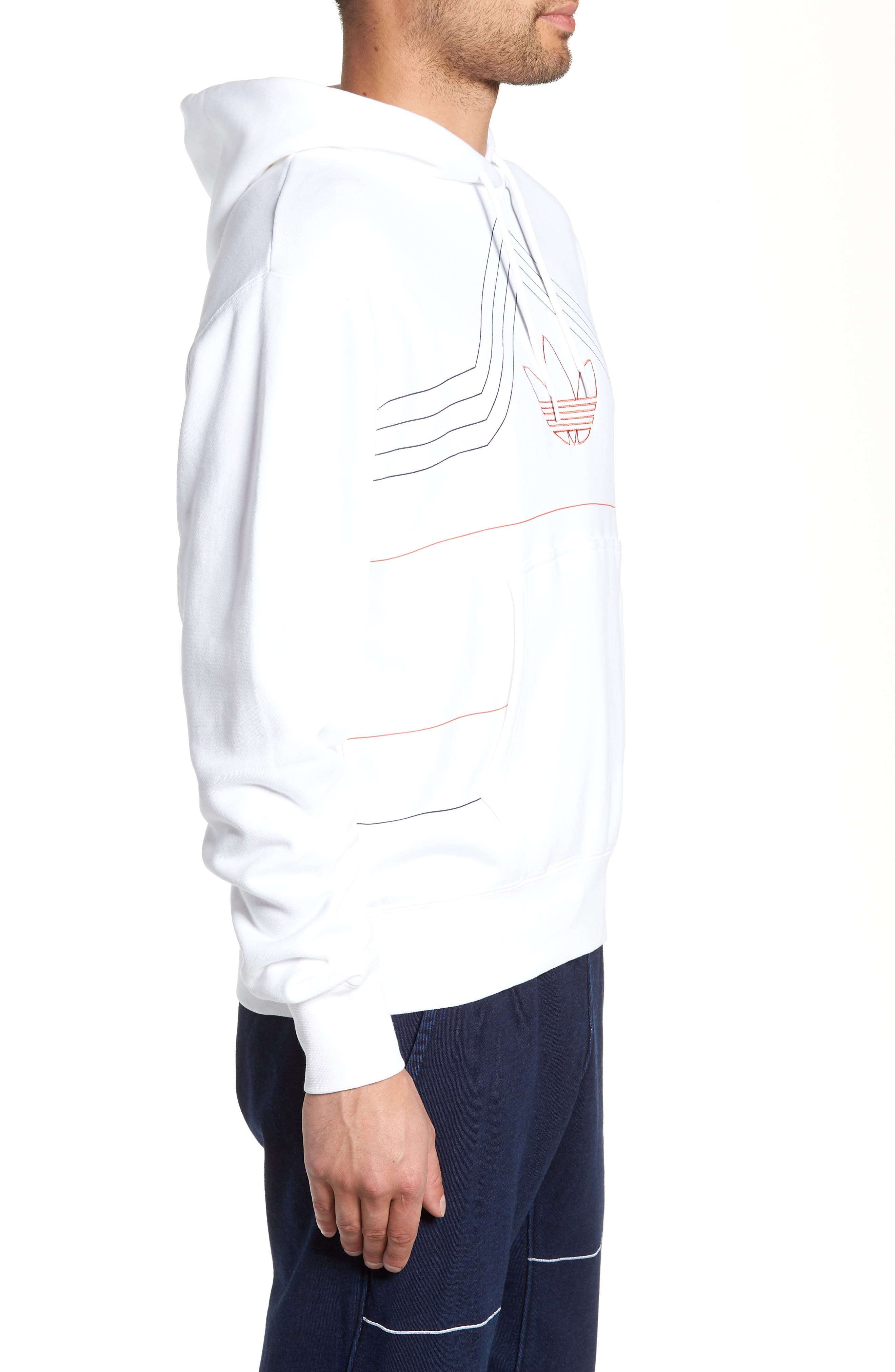 ADIDAS ORIGINALS, Ewing Hooded Sweatshirt, Alternate thumbnail 4, color, WHITE/ RAW AMBER