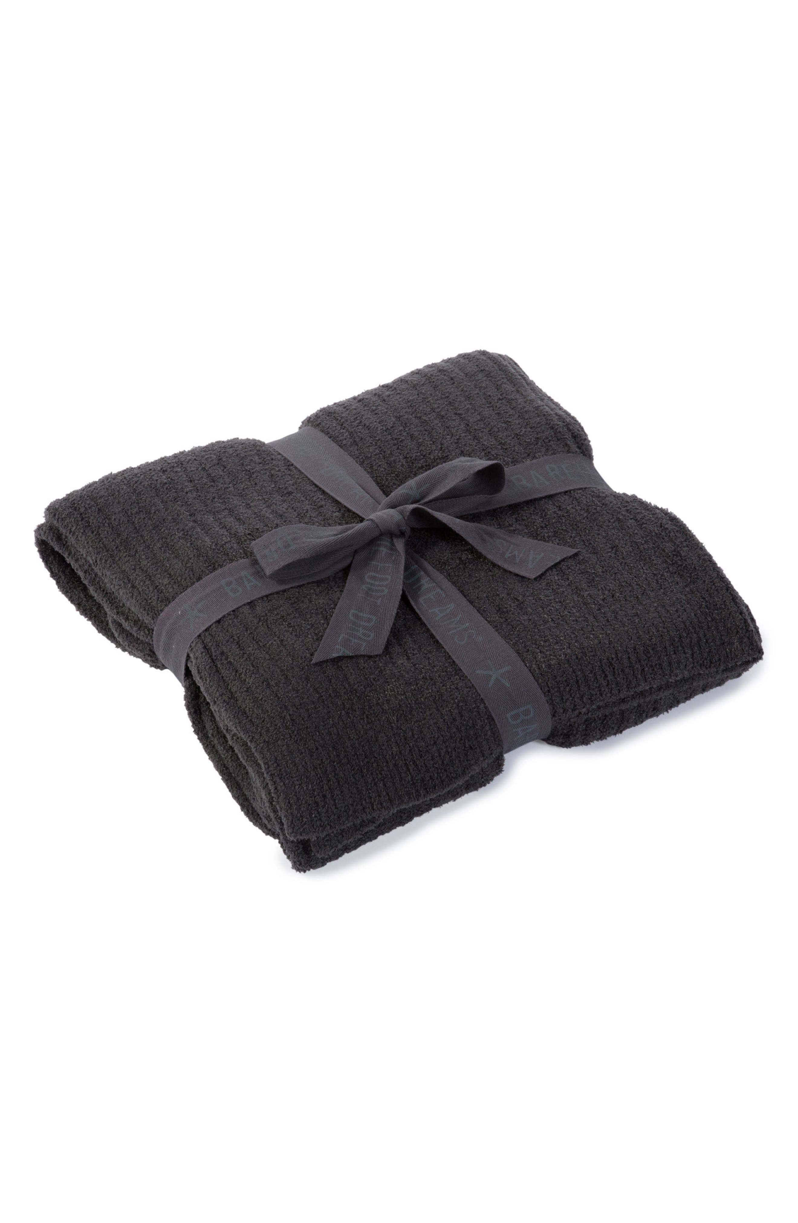 BAREFOOT DREAMS<SUP>®</SUP>, CozyChic Light Ribbed Throw, Main thumbnail 1, color, CARBON