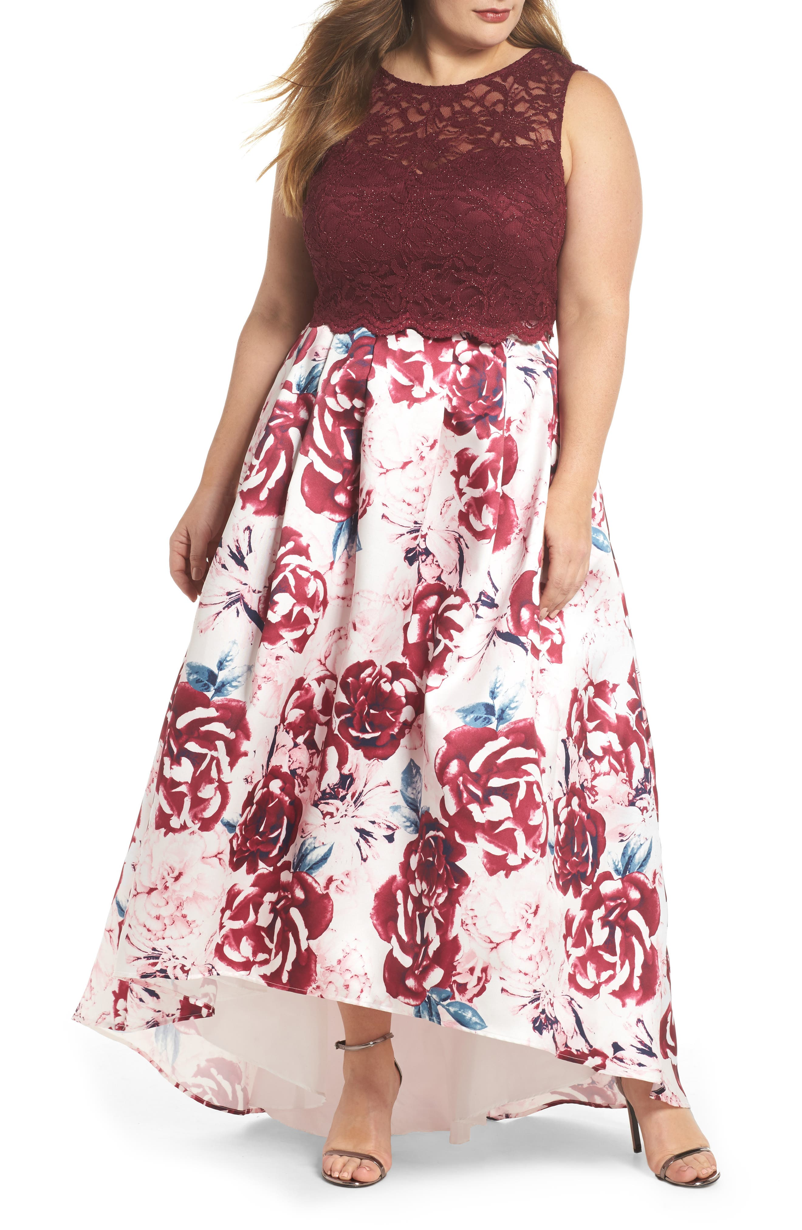 MORGAN & CO., Lace & Mikado Two-Piece Gown, Main thumbnail 1, color, MERLOT/ PINK/ IVORY