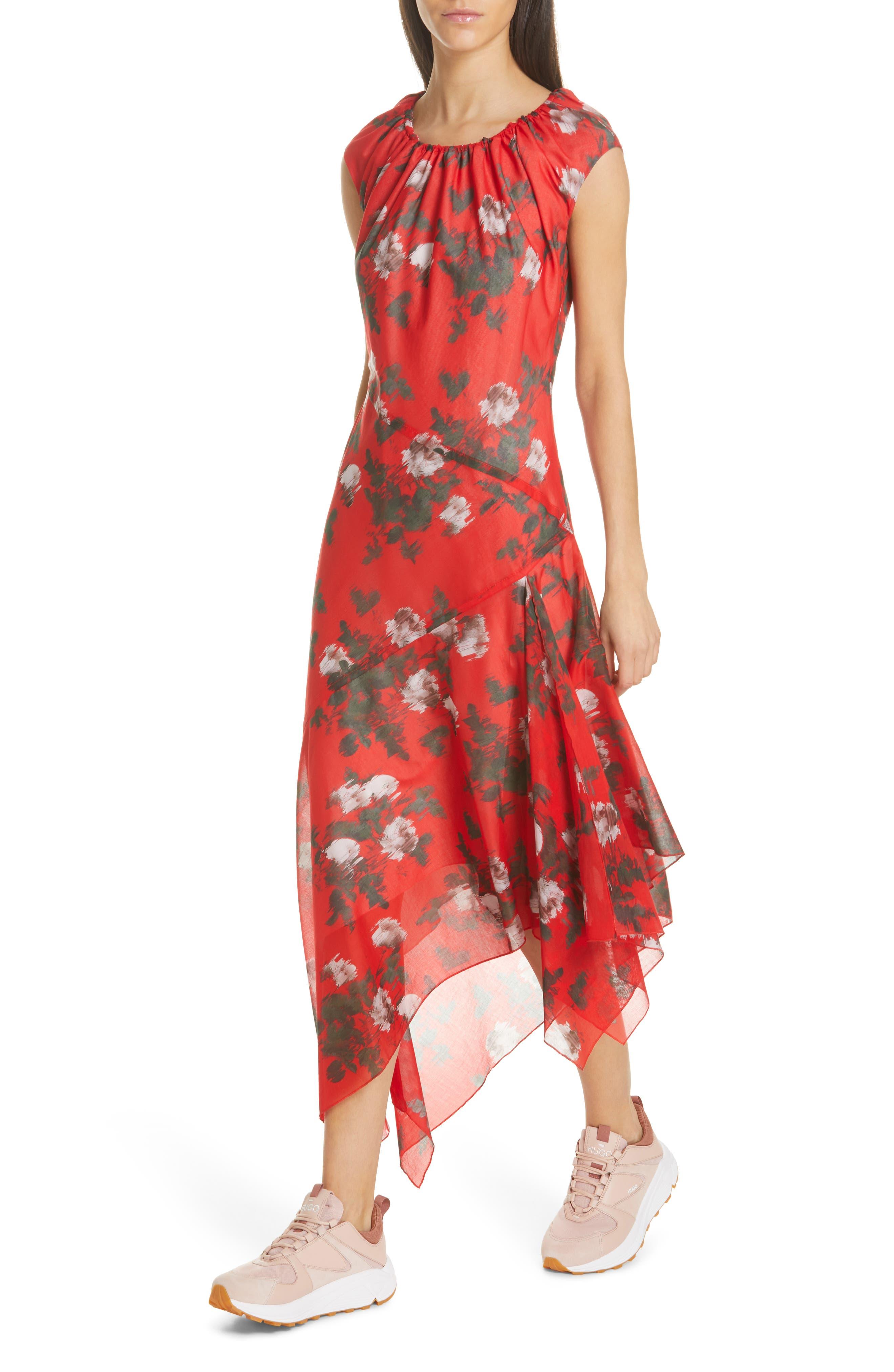 HUGO, Kefesha Asymmetrical Midi Dress, Alternate thumbnail 4, color, RED