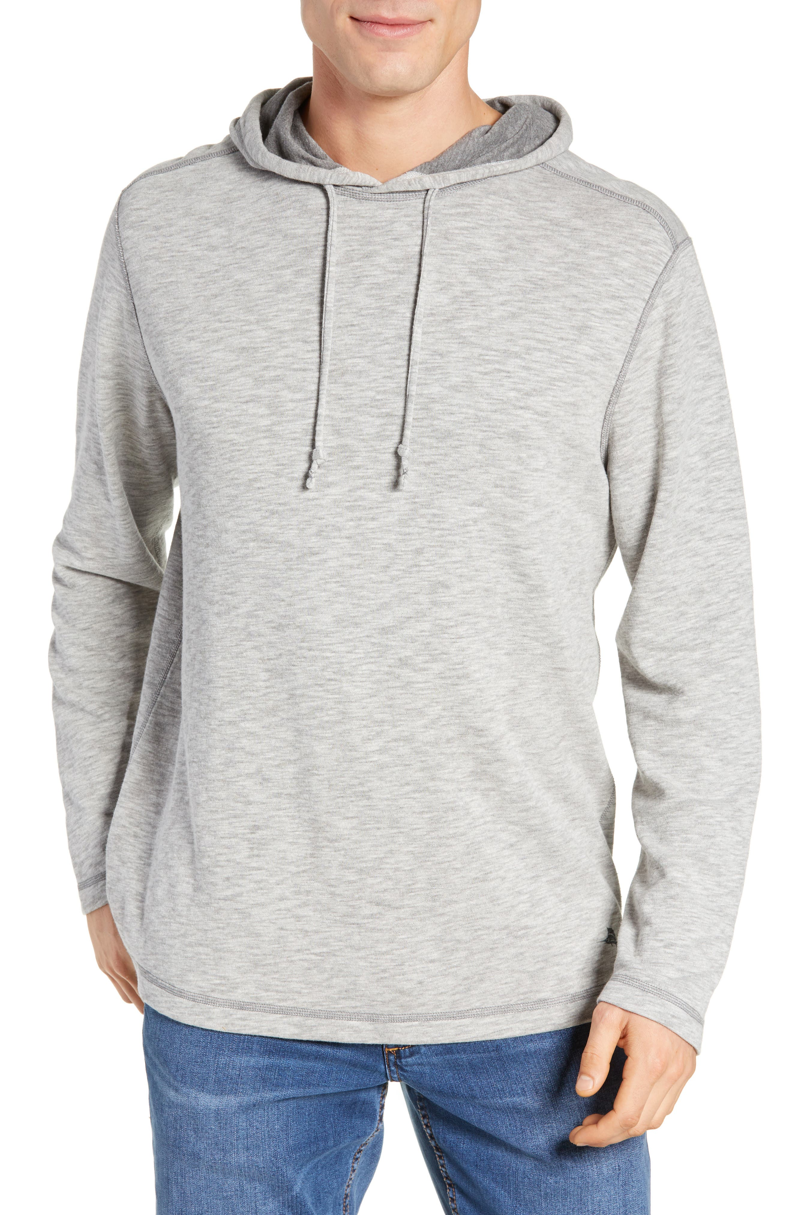 TOMMY BAHAMA Sea Glass Classic Fit Reversible Hoodie, Main, color, BLACK