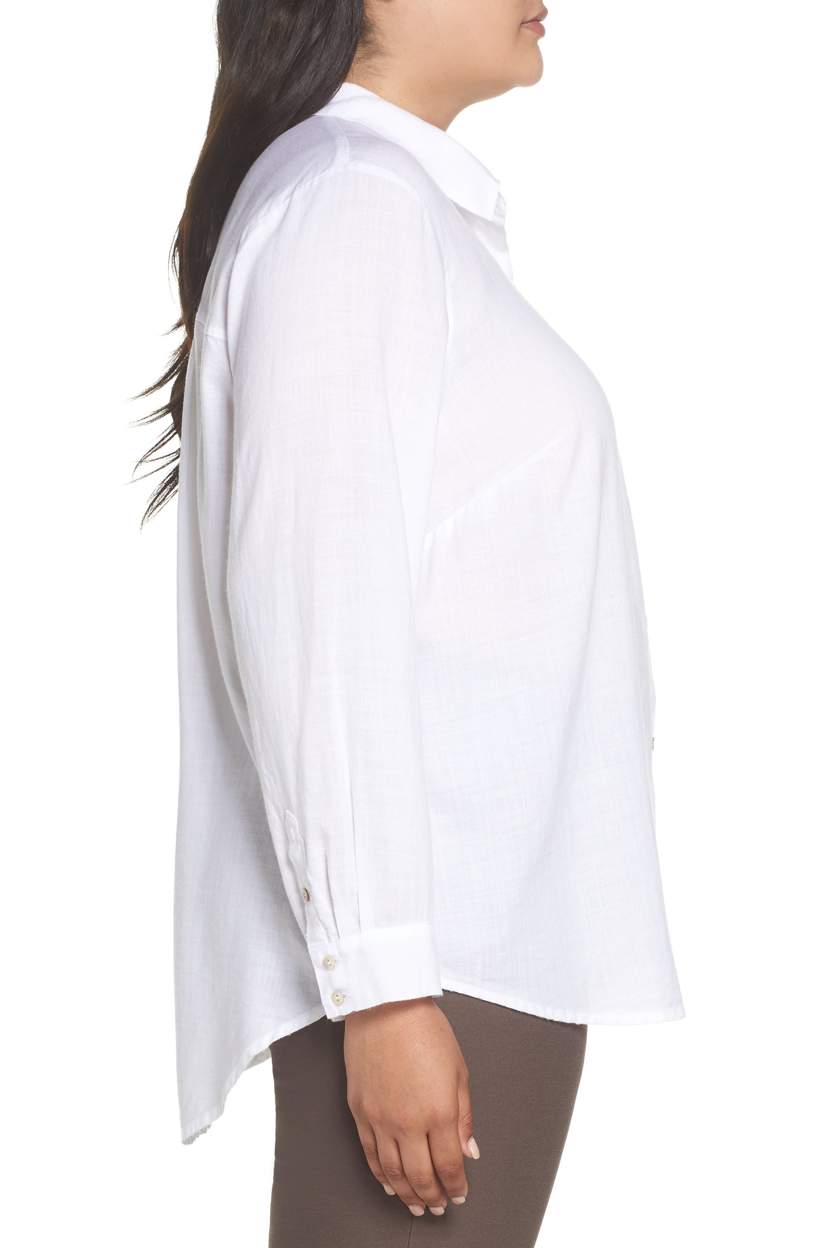 EILEEN FISHER, Tencel<sup>®</sup> Lyocell Shirt, Alternate thumbnail 3, color, WHITE