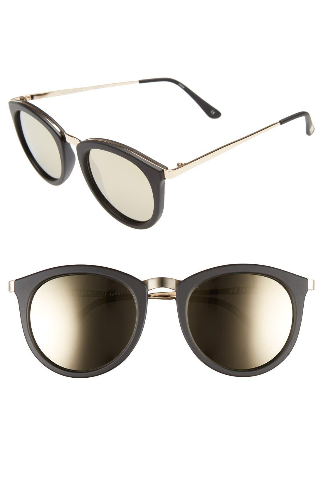 LE SPECS, No Smirking Limited 50mm Sunglasses, Main thumbnail 1, color, MATTE BLACK
