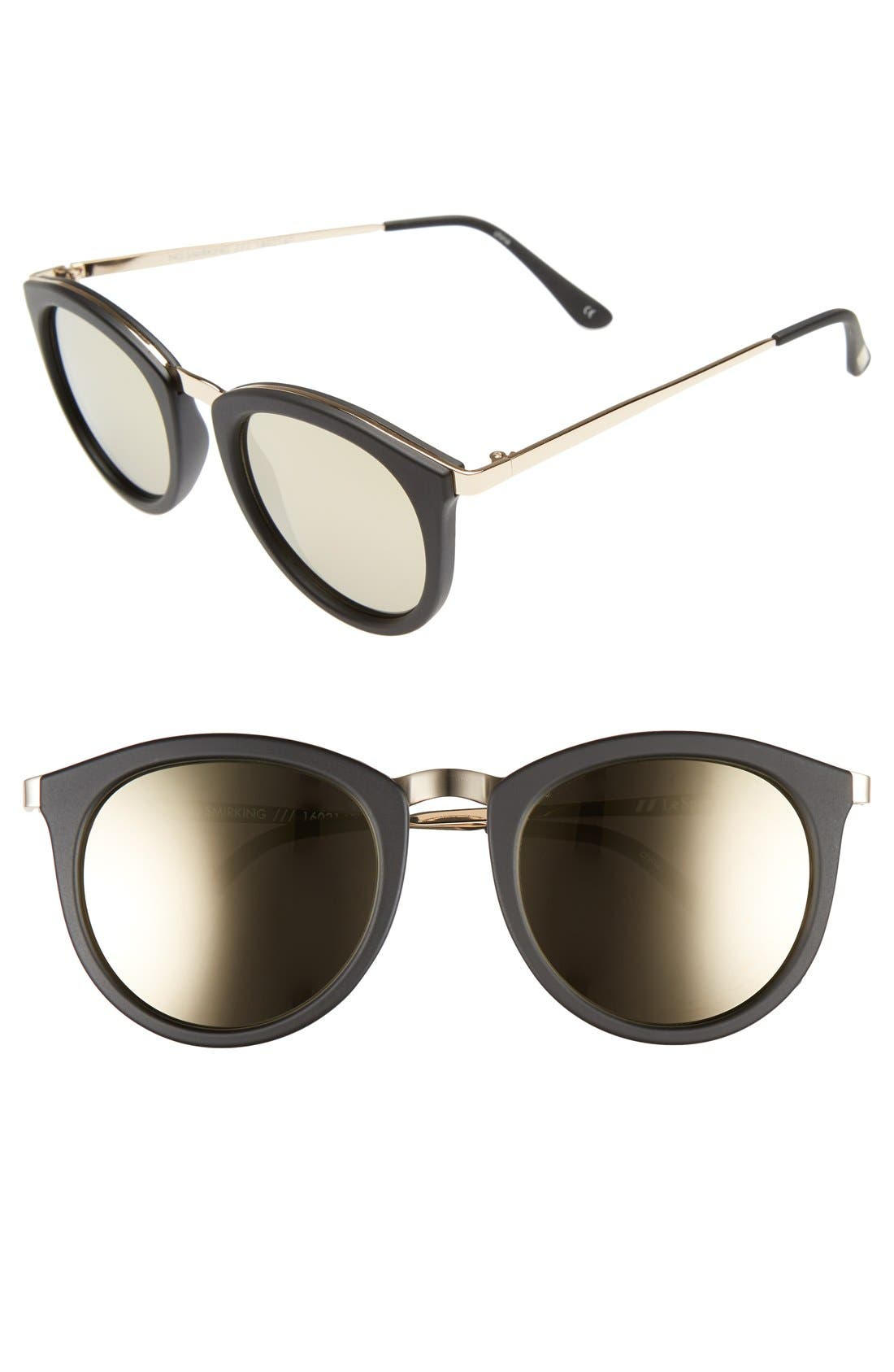 LE SPECS No Smirking Limited 50mm Sunglasses, Main, color, MATTE BLACK