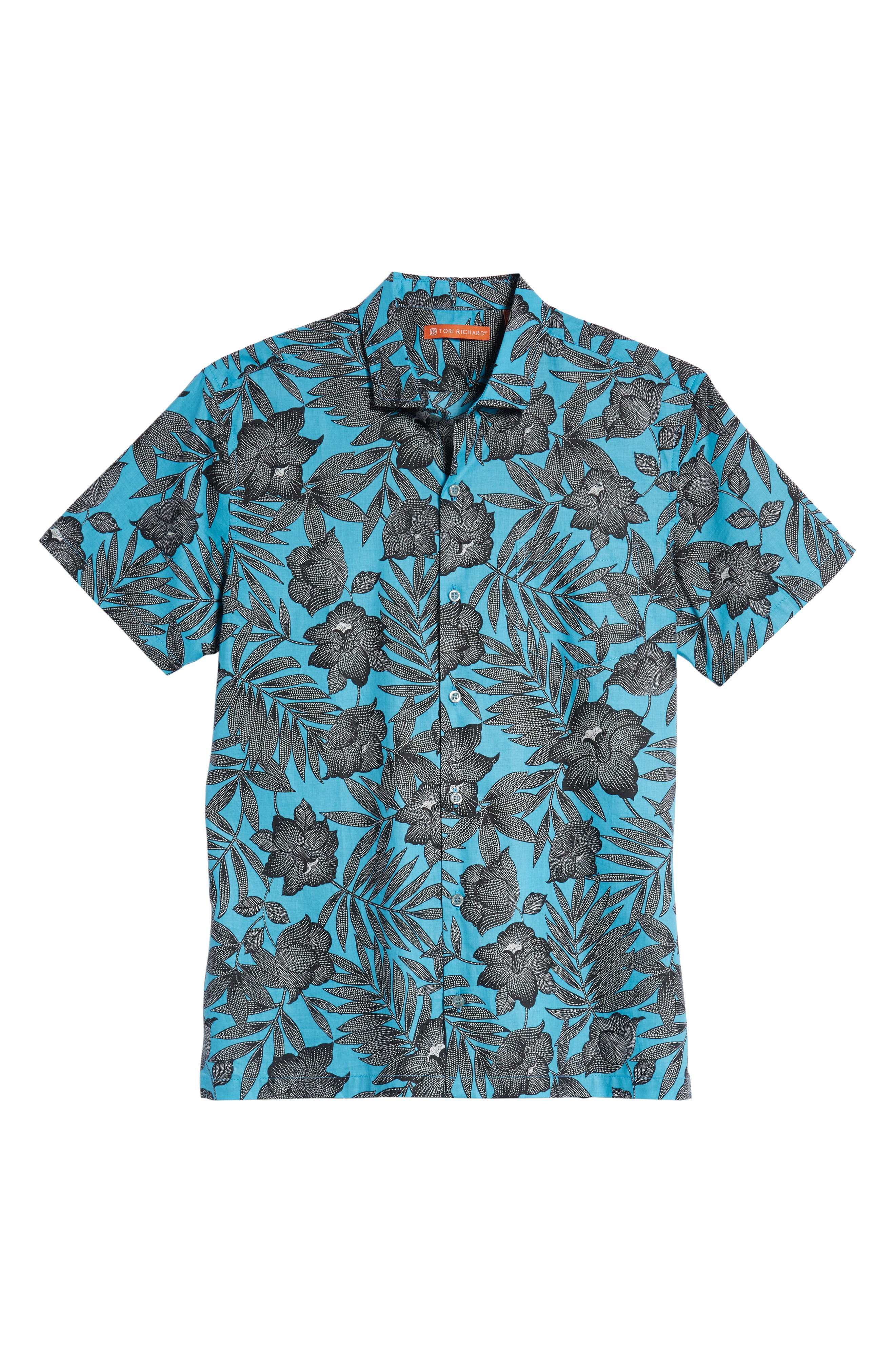 TORI RICHARD, Pollenesia Regular Fit Sport Shirt, Alternate thumbnail 5, color, SURF