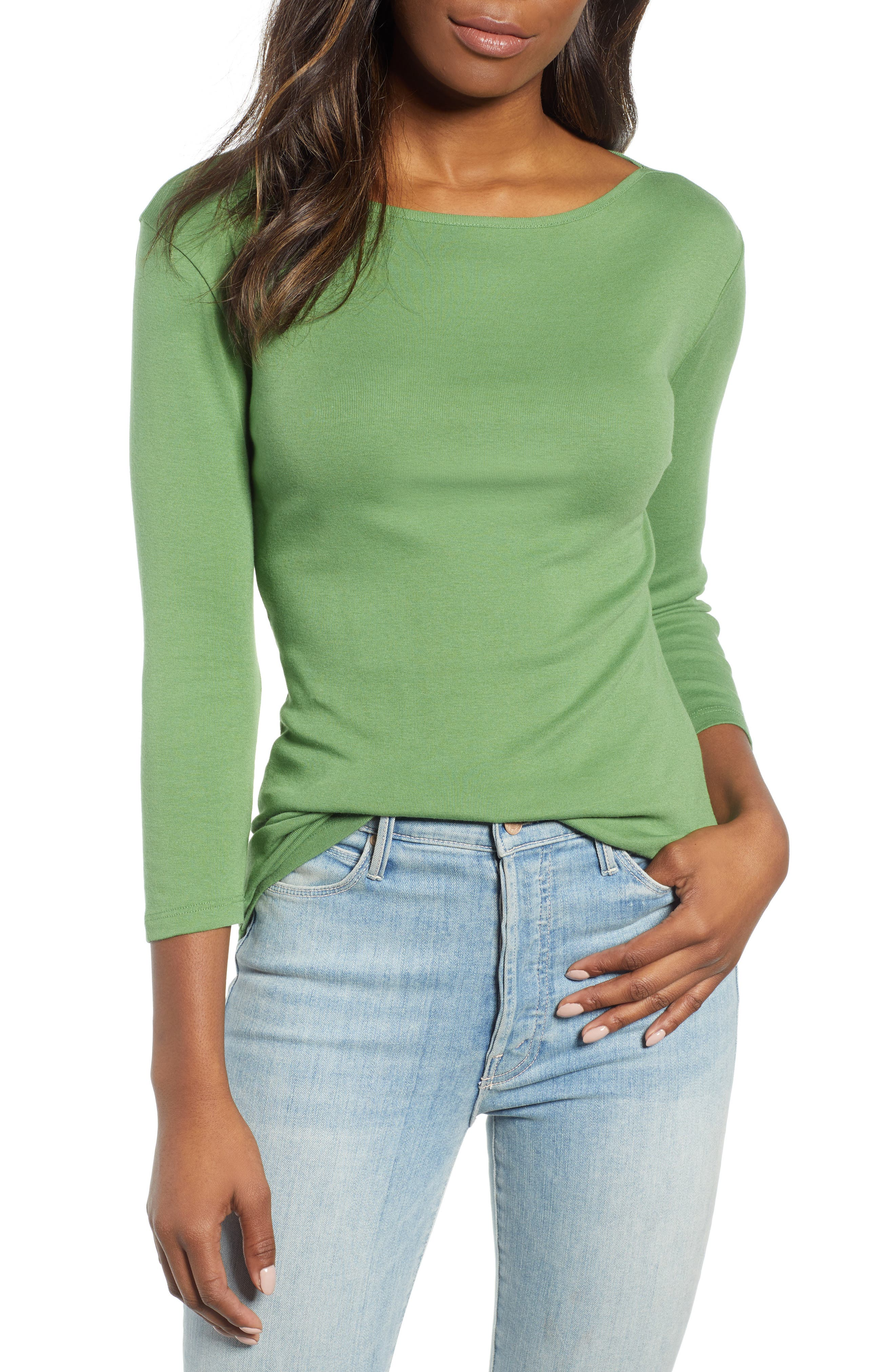 CASLON<SUP>®</SUP> Three Quarter Sleeve Tee, Main, color, GREEN WILLOW