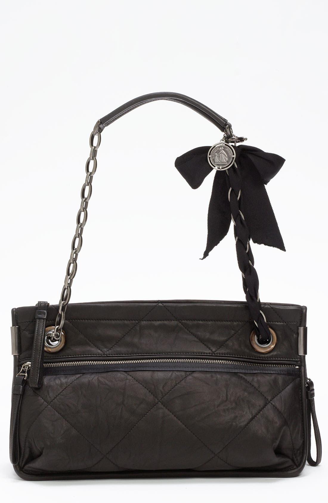 LANVIN, 'Amalia - Medium' Leather Shoulder Bag, Main thumbnail 1, color, 001