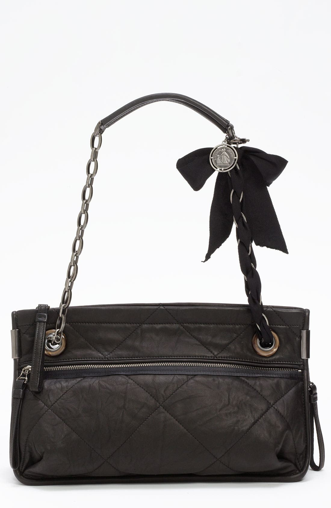 LANVIN 'Amalia - Medium' Leather Shoulder Bag, Main, color, 001