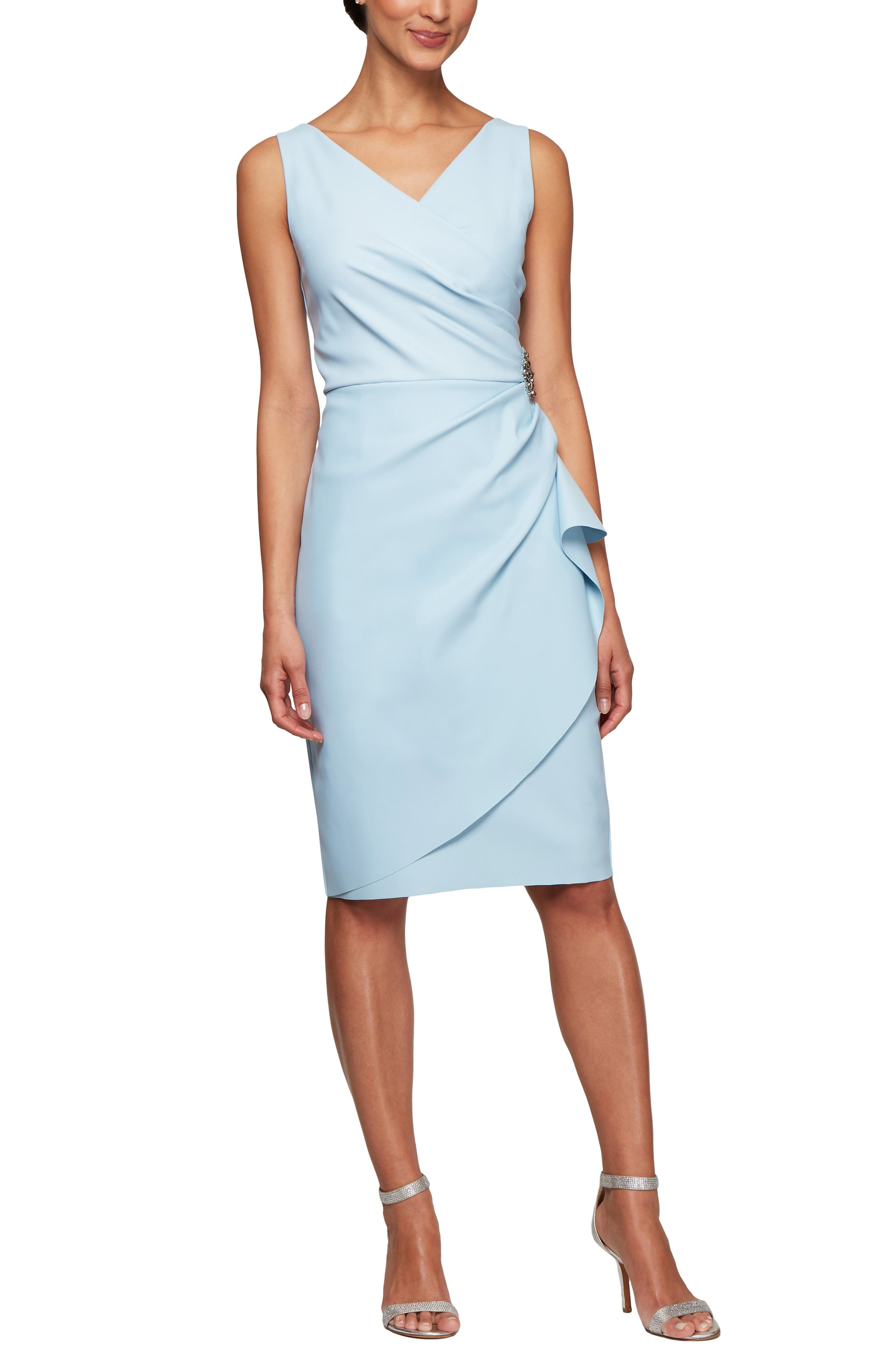 Petite Alex Evenings Side Ruched Dress, Pink