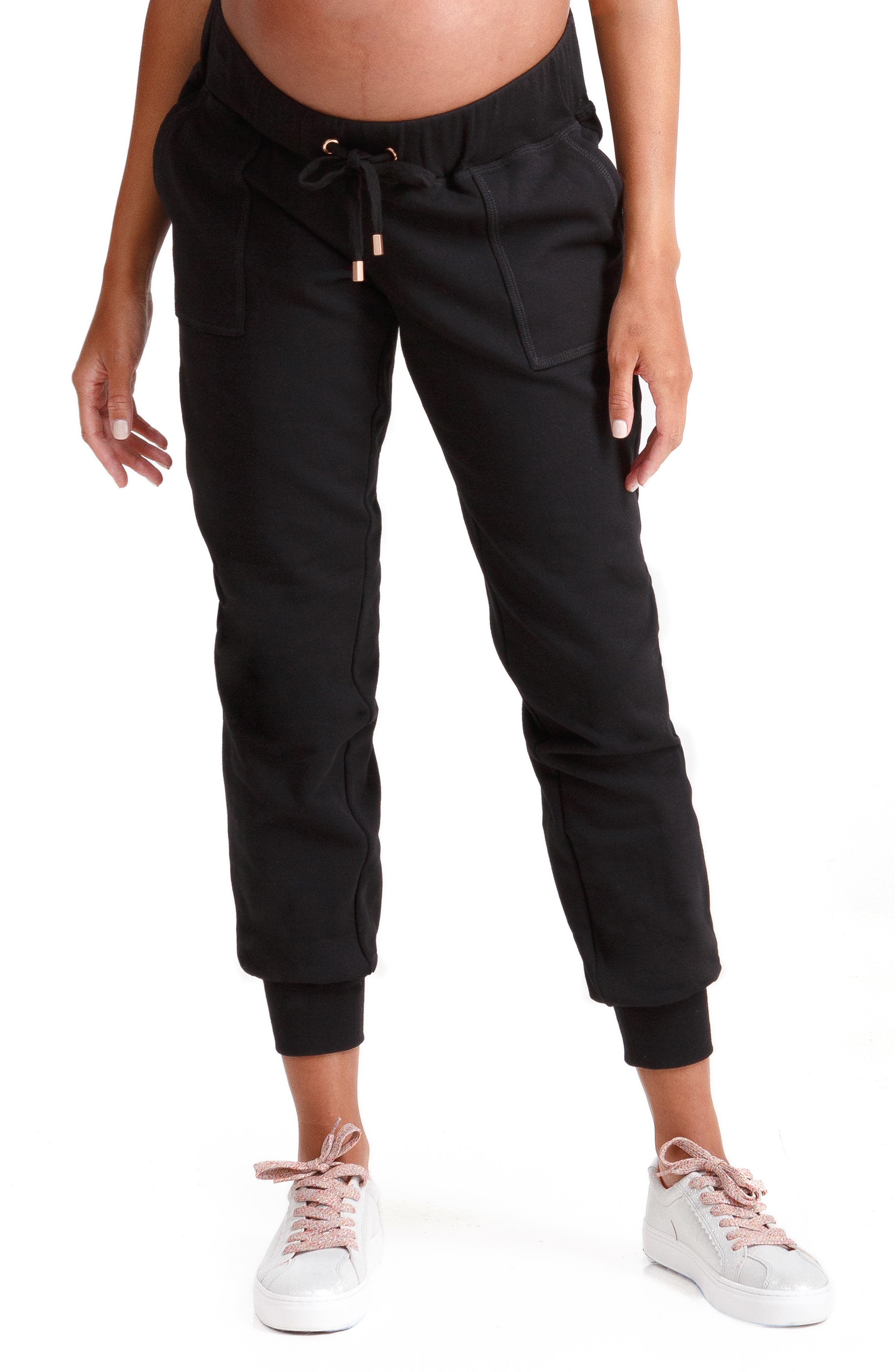 INGRID & ISABEL<SUP>®</SUP>, Knit Active Maternity Jogger Pants, Main thumbnail 1, color, JET BLACK