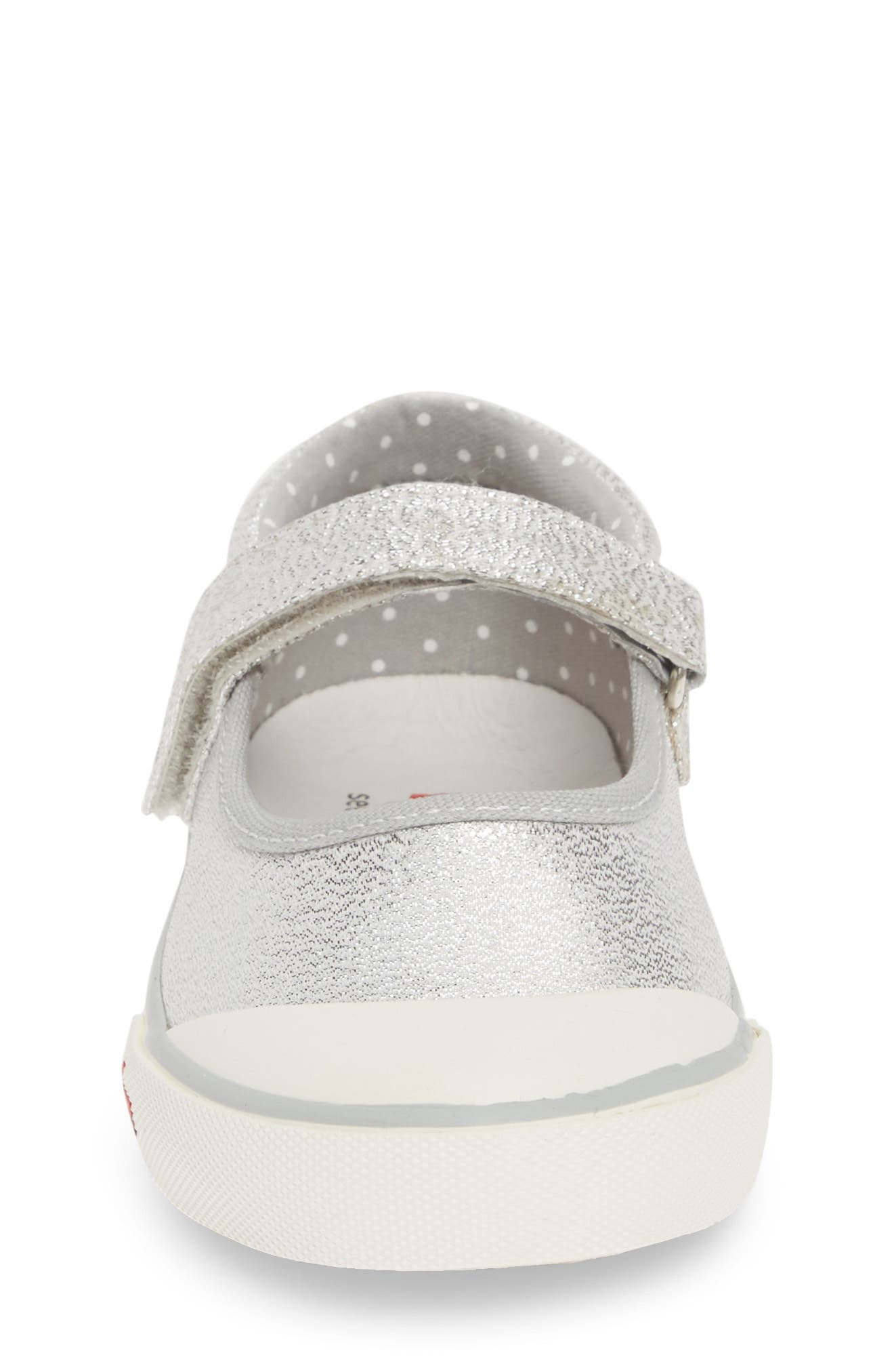 SEE KAI RUN, 'Marie' Mary Jane Sneaker, Alternate thumbnail 4, color, SILVER DOTS