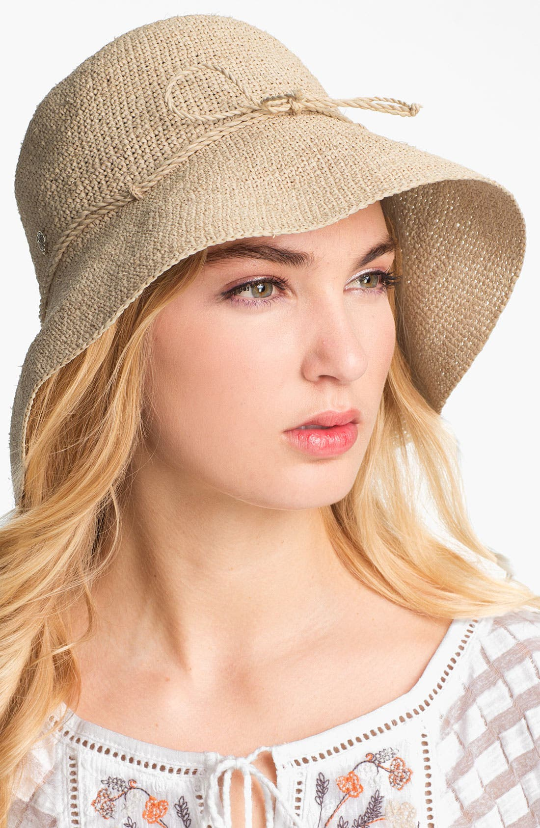 HELEN KAMINSKI, 'Provence 10' Packable Raffia Hat, Alternate thumbnail 3, color, NATURAL