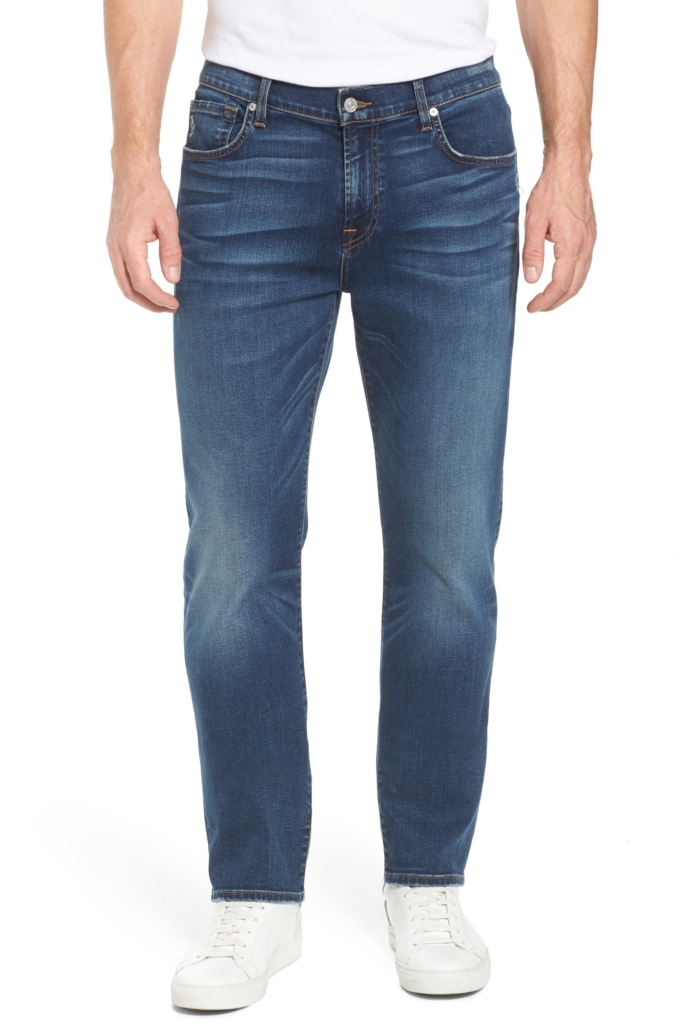 7 FOR ALL MANKIND<SUP>®</SUP>, The Straight - Luxe Performance Slim Straight Leg Jeans, Main thumbnail 1, color, LUXE PERFORMANCE UNION