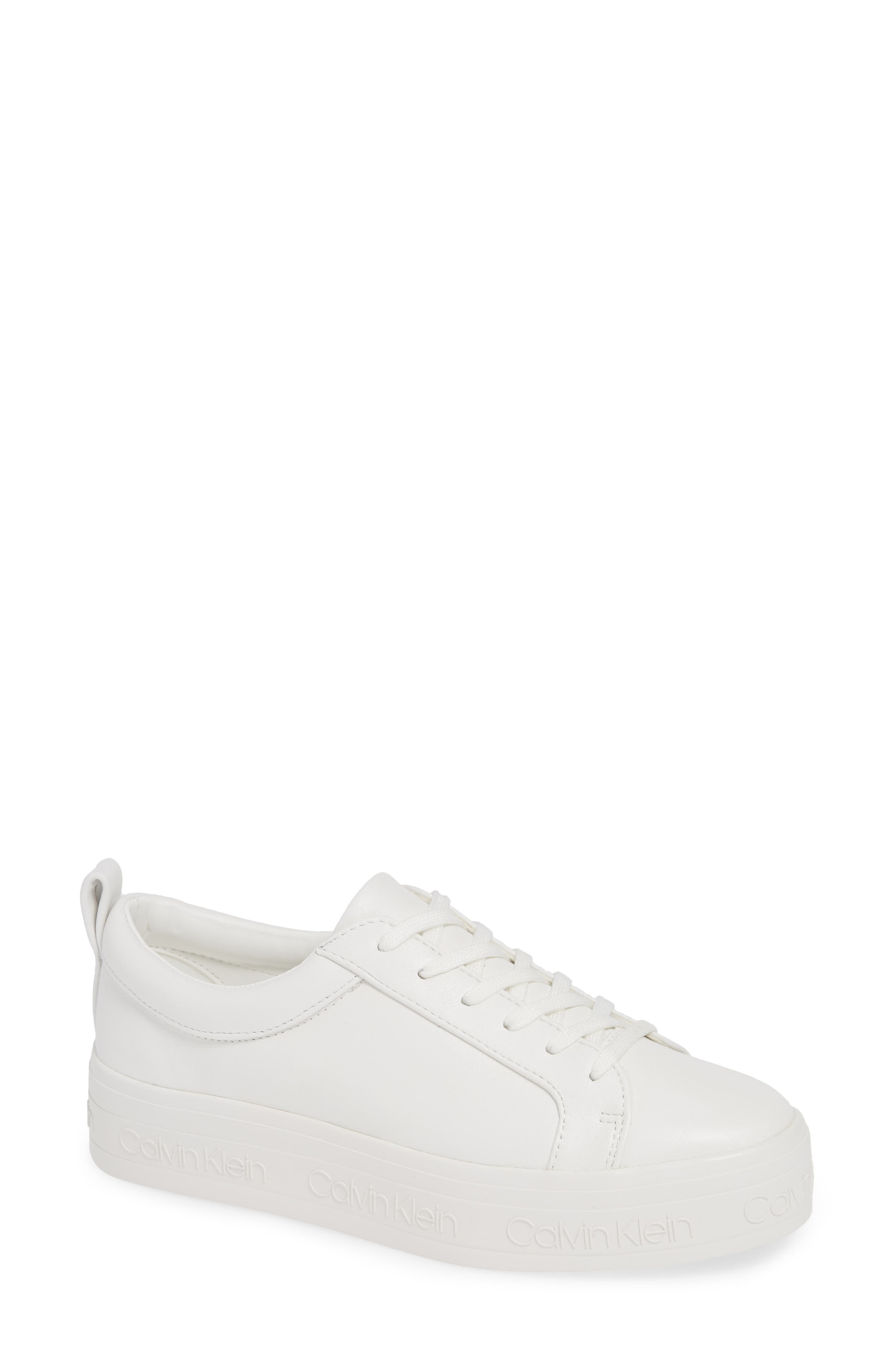 CALVIN KLEIN, Jaelee Sneaker, Main thumbnail 1, color, WHITE NAPPA LEATHER