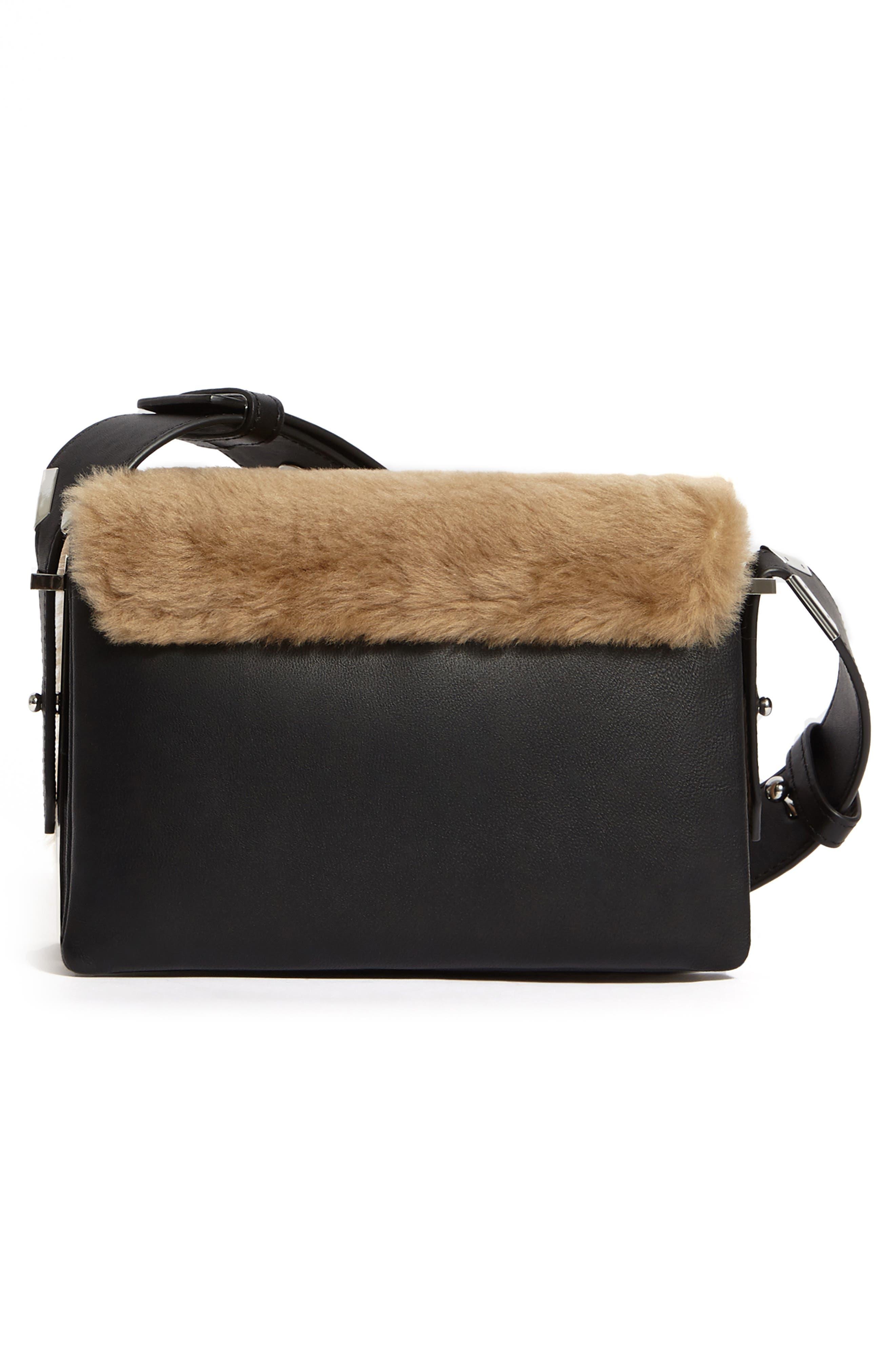 ALLSAINTS, Versailles Leather & Genuine Shearling Shoulder Bag, Alternate thumbnail 2, color, CAMEL