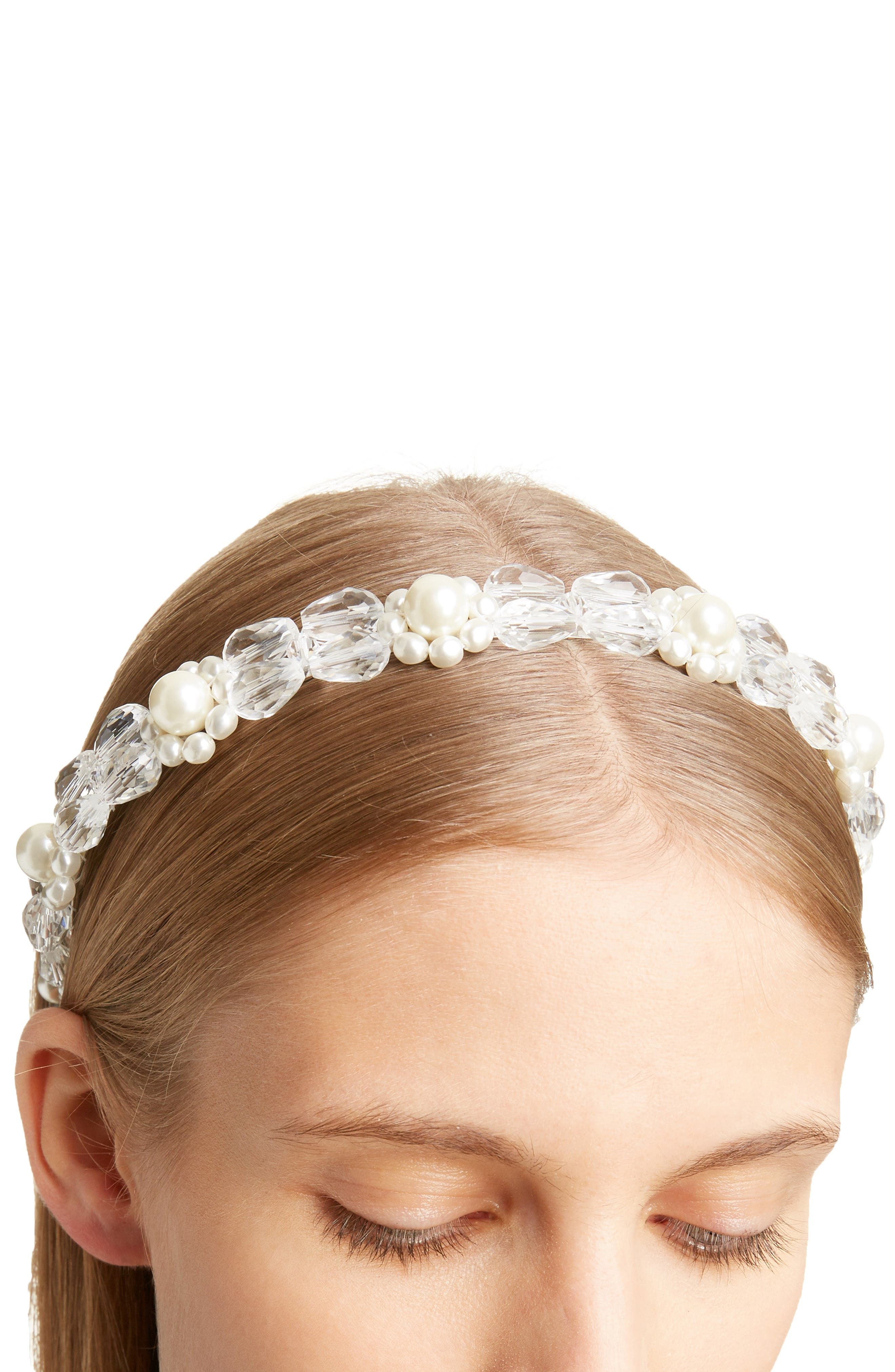 SIMONE ROCHA, Daisy Imitation Pearl & Crystal Headband, Alternate thumbnail 3, color, CLEAR/ PEARL