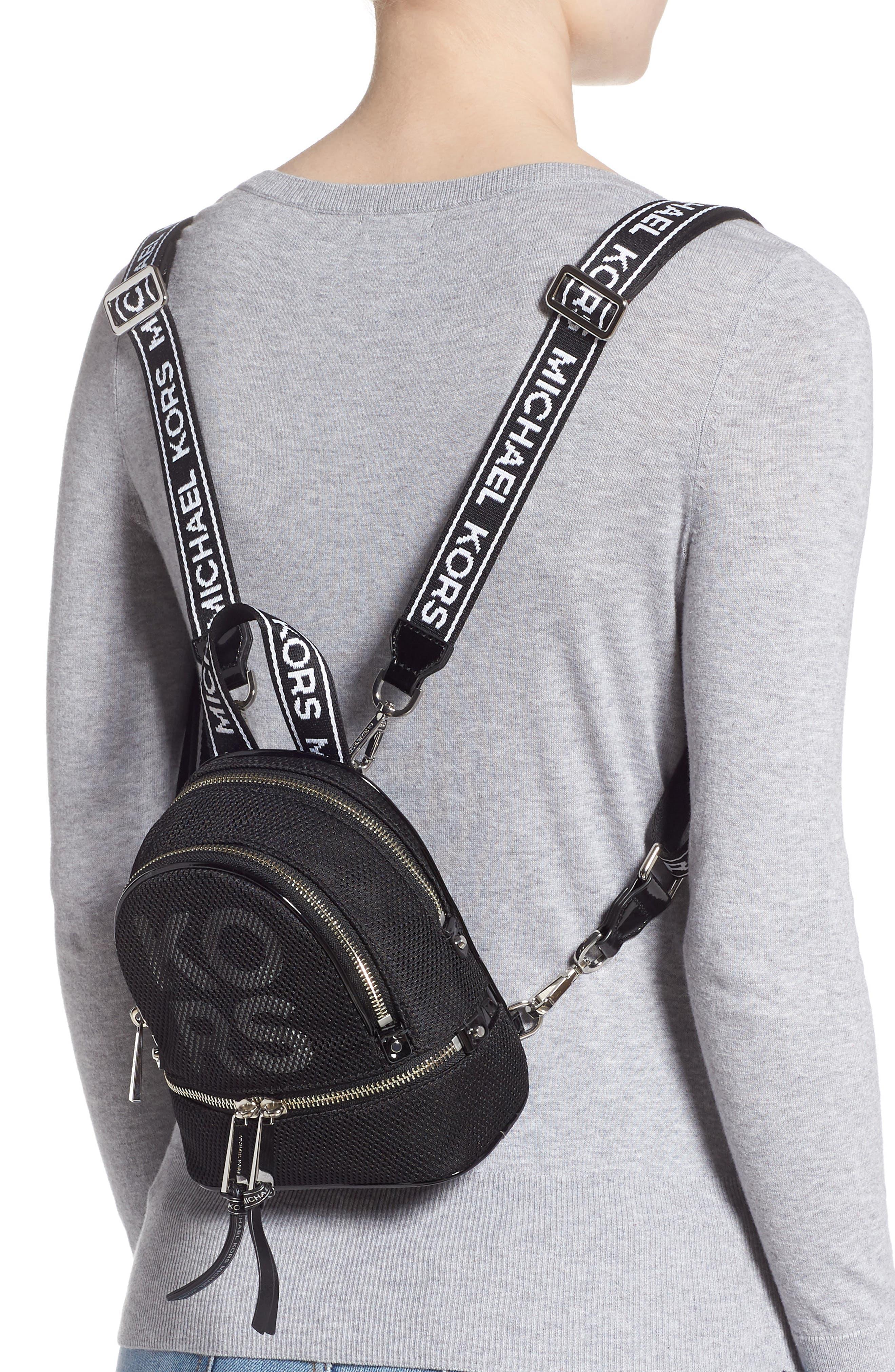 MICHAEL MICHAEL KORS, Extra Small Rhea Mesh Backpack, Alternate thumbnail 2, color, BLACK/ OPTIC WHITE