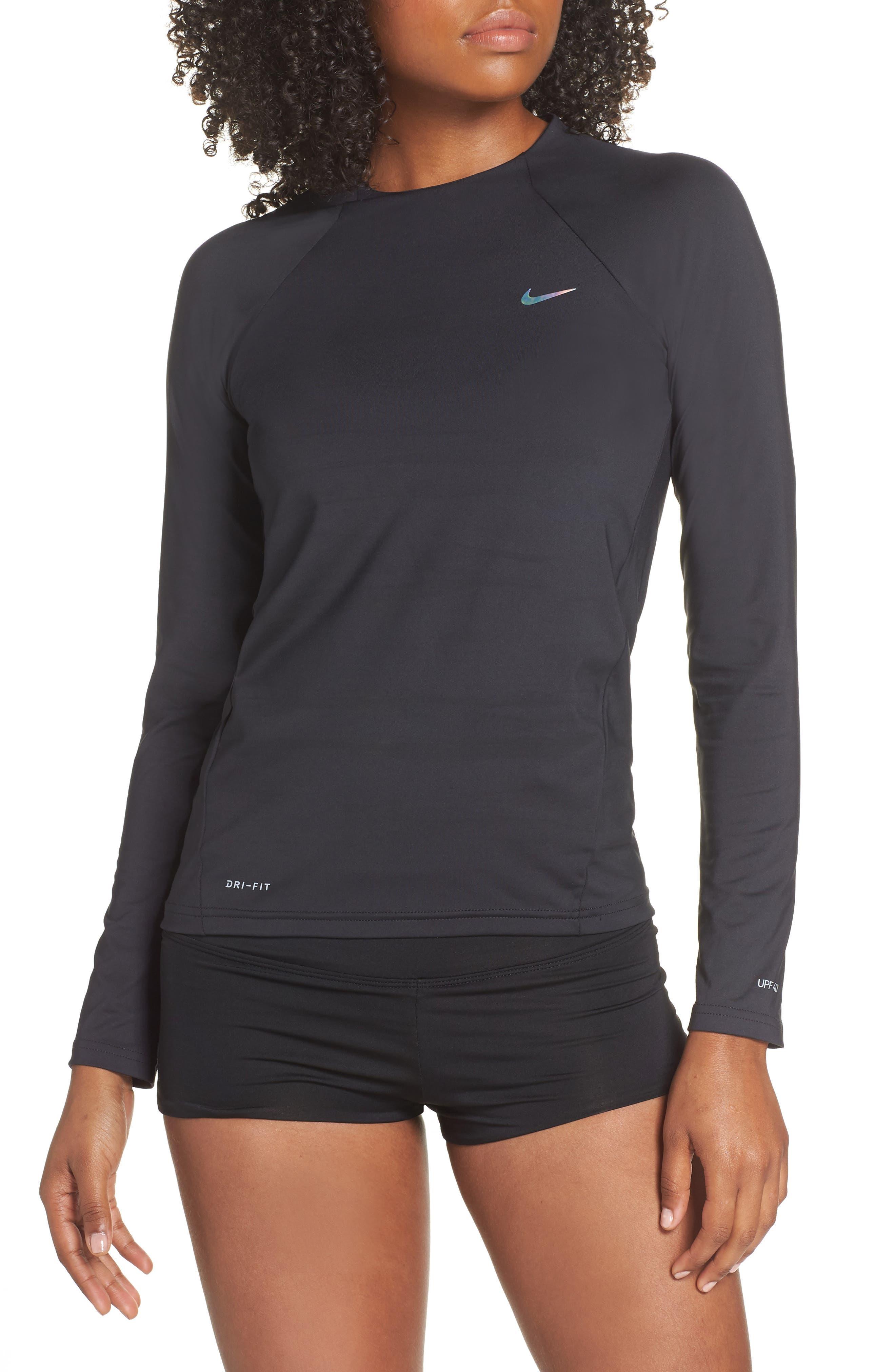 NIKE Long Sleeve Hydroguard Shirt, Main, color, BLACK