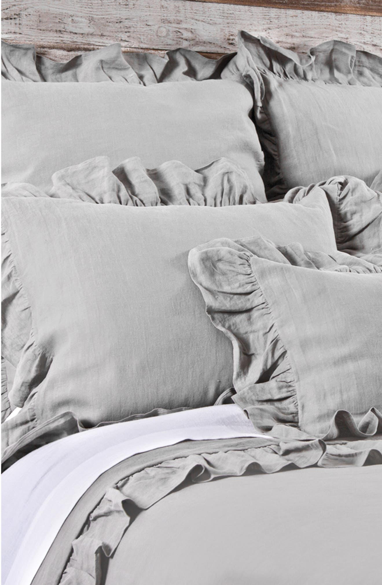 POM POM AT HOME, 'Charlie' Linen Duvet Cover, Main thumbnail 1, color, SILVER