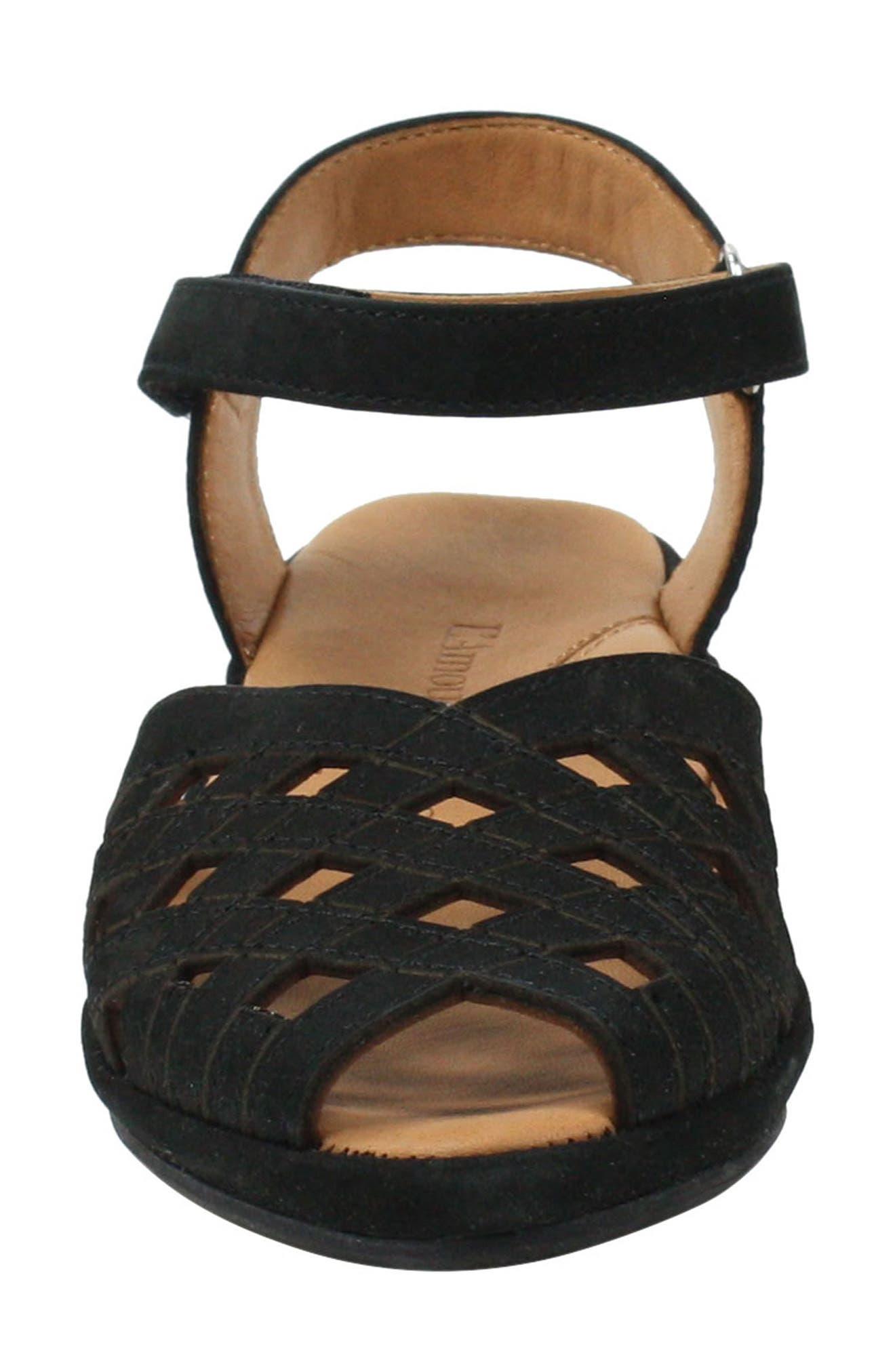 L'AMOUR DES PIEDS, Burcie Wedge Sandal, Alternate thumbnail 4, color, BLACK NUBUCK LEATHER