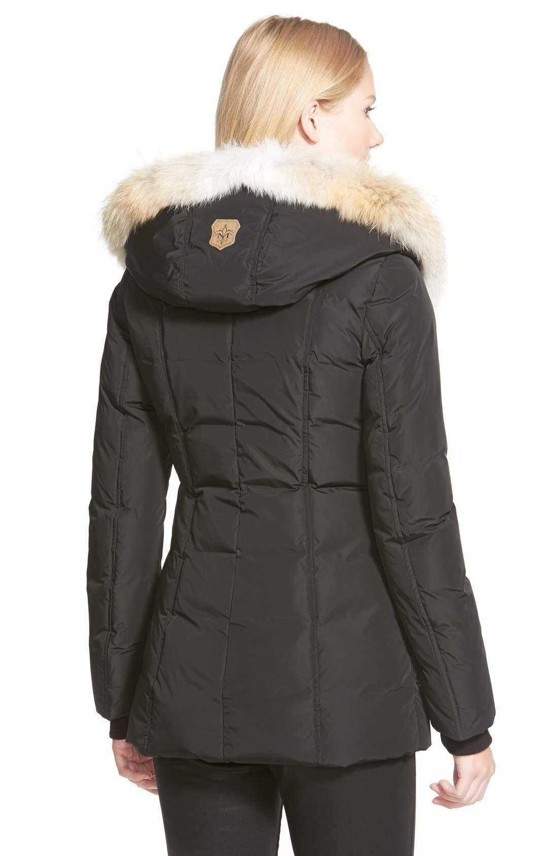 MACKAGE, Hooded Down Parka with Inset Bib & Genuine Fox Fur Trim, Alternate thumbnail 7, color, 001