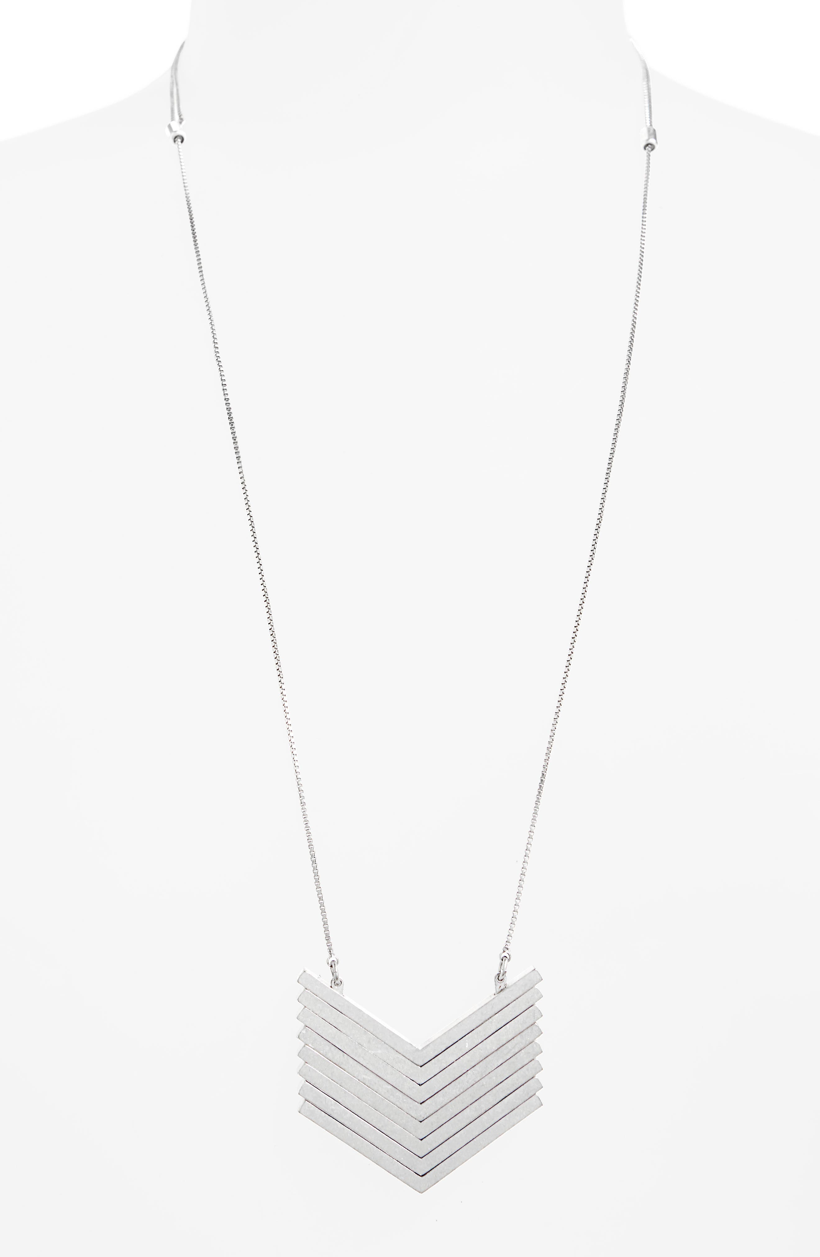 MADEWELL, Arrowstack Necklace, Alternate thumbnail 2, color, LIGHT SILVER OX