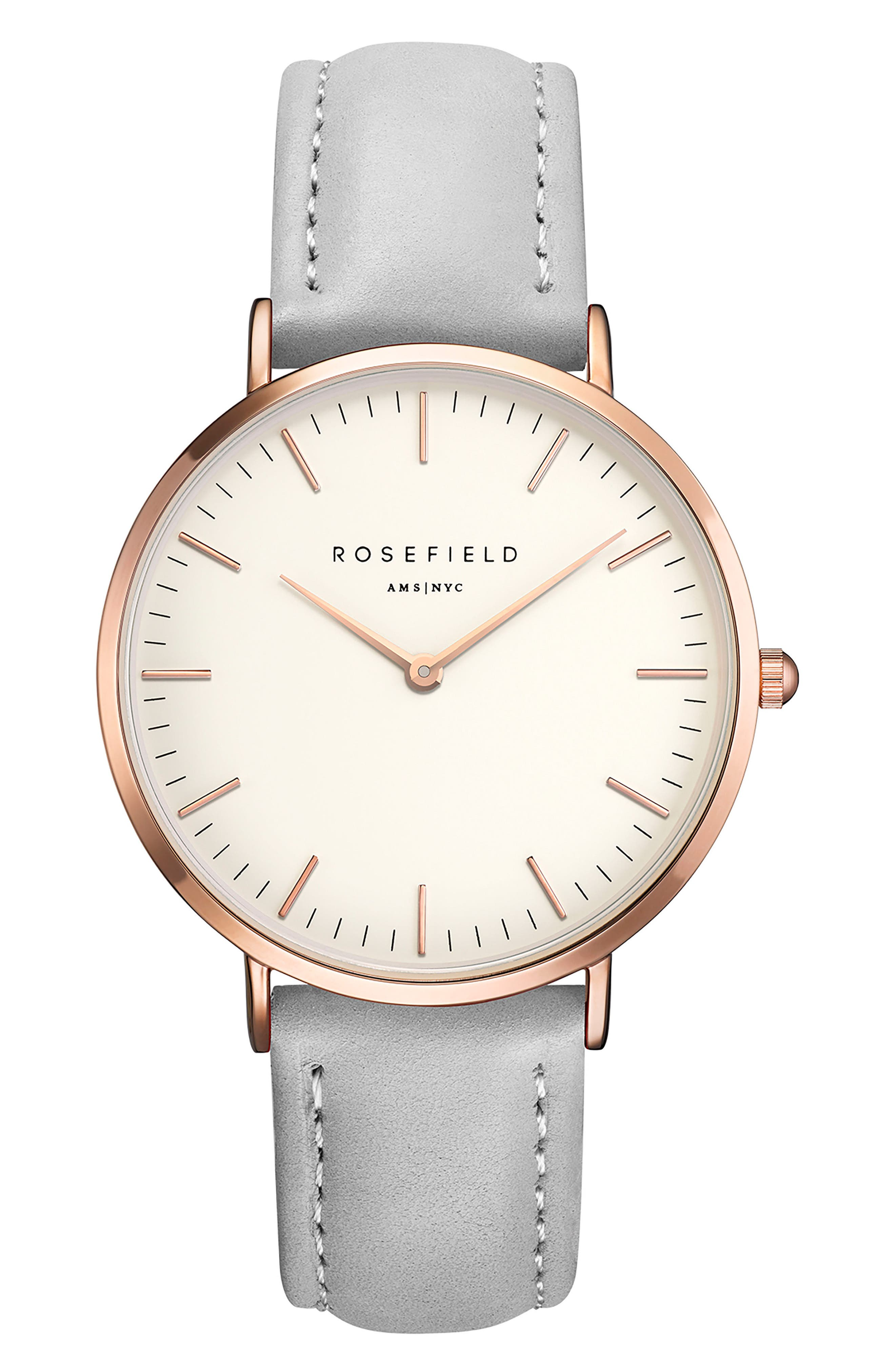 ROSEFIELD Bowery Leather Strap Watch, 38mm, Main, color, GREY/ WHITE/ ROSE GOLD
