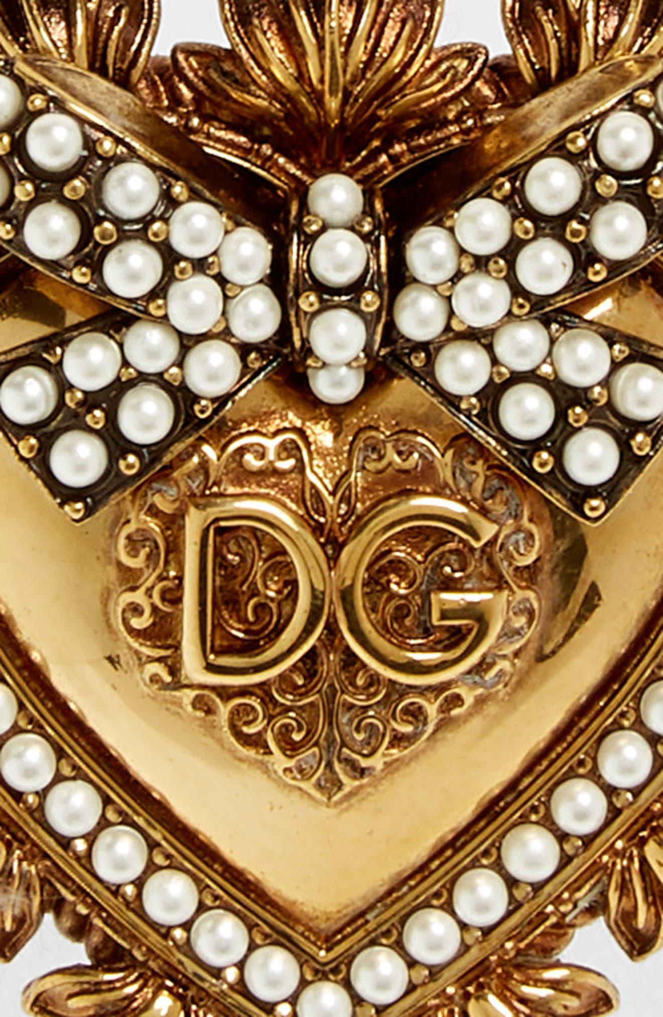 DOLCE&GABBANA, Devotion Logo Heart Buckle Leather Belt, Alternate thumbnail 3, color, NERO