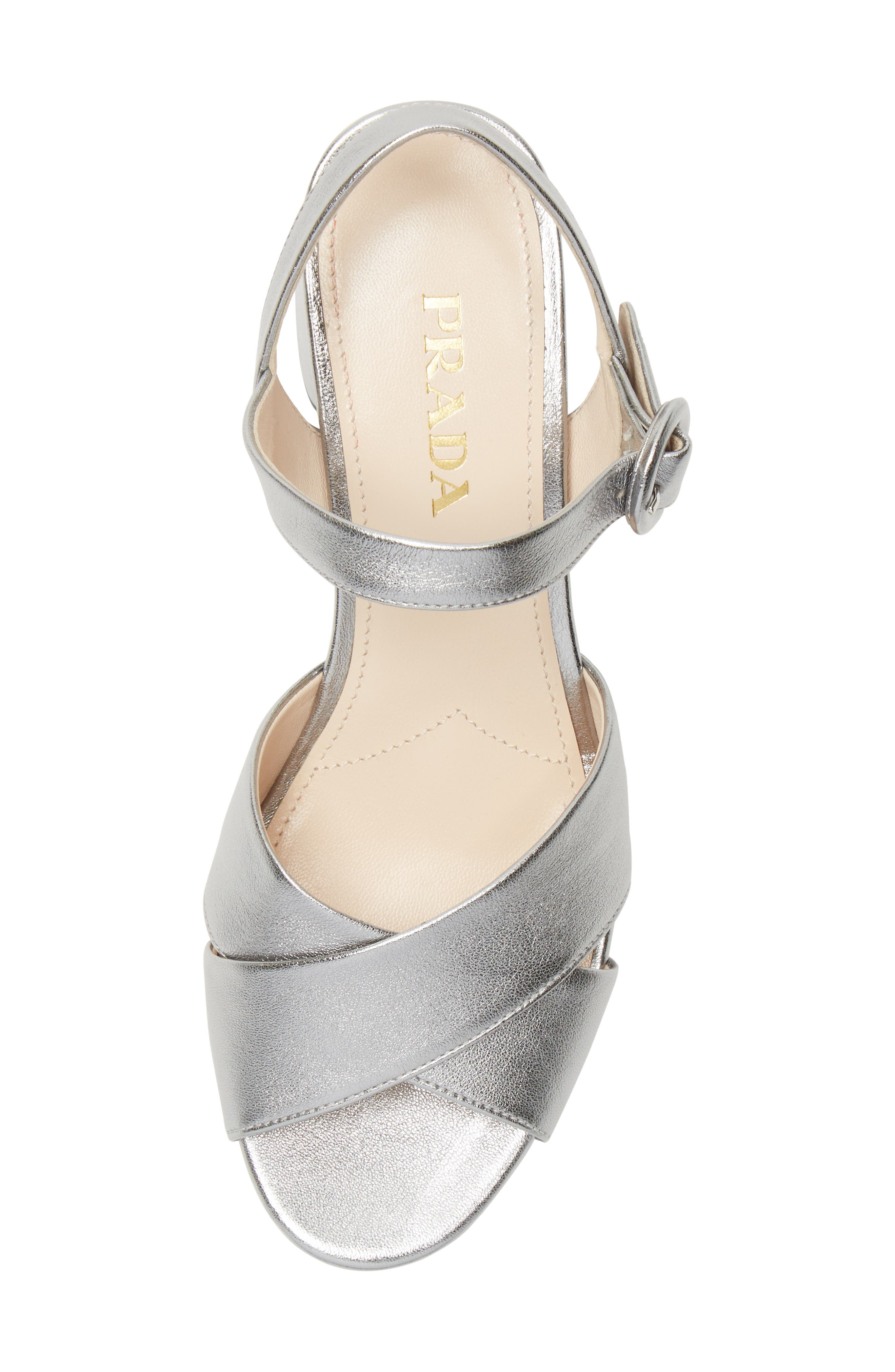 PRADA, Quarter Strap Platform Sandal, Alternate thumbnail 5, color, SILVER