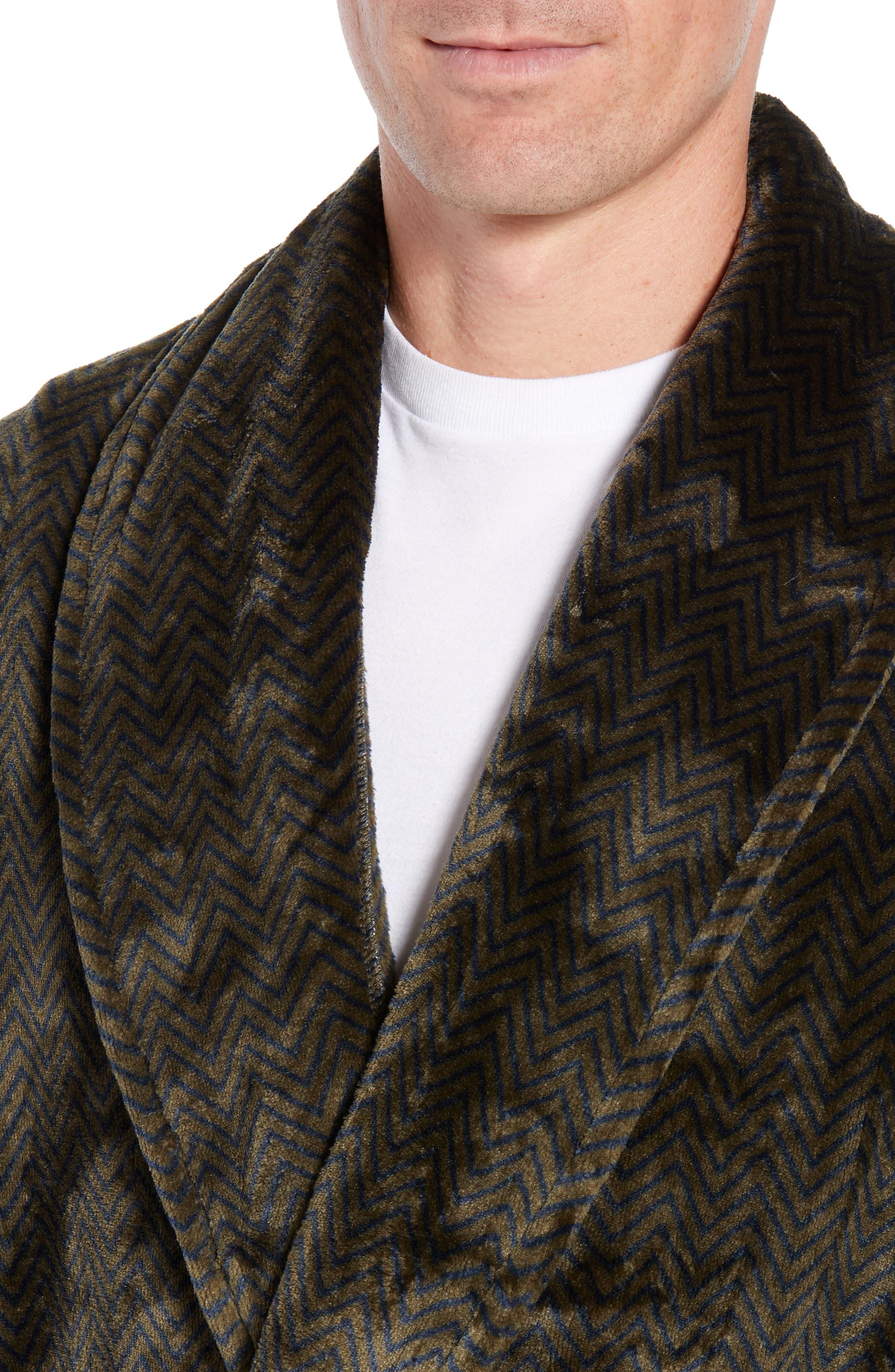 DANIEL BUCHLER, Chevron Fleece Robe, Alternate thumbnail 4, color, ARMY/ MIDNIGHT