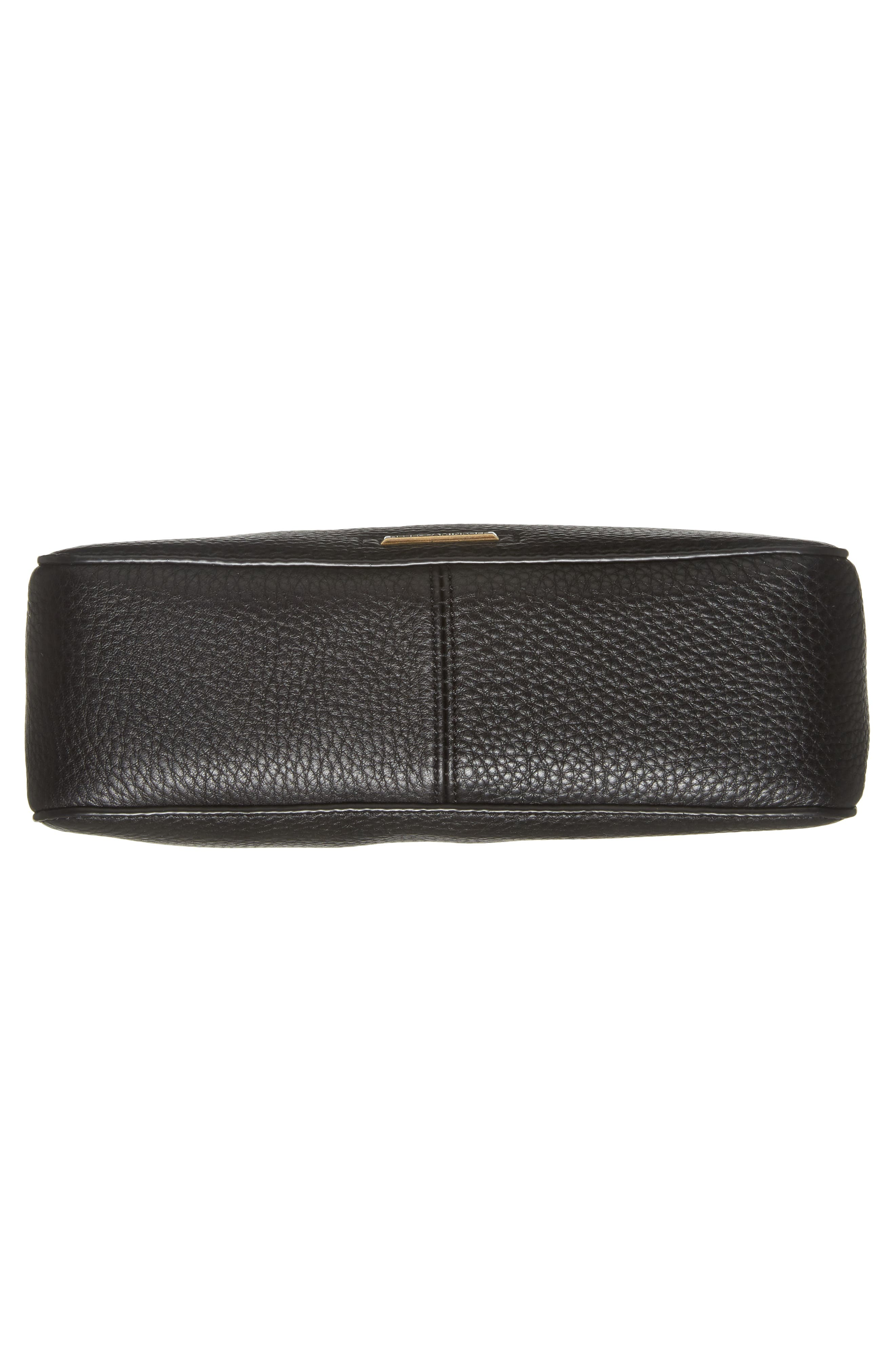 REBECCA MINKOFF, Small Darren Deerskin Leather Feed Bag, Alternate thumbnail 7, color, BLACK