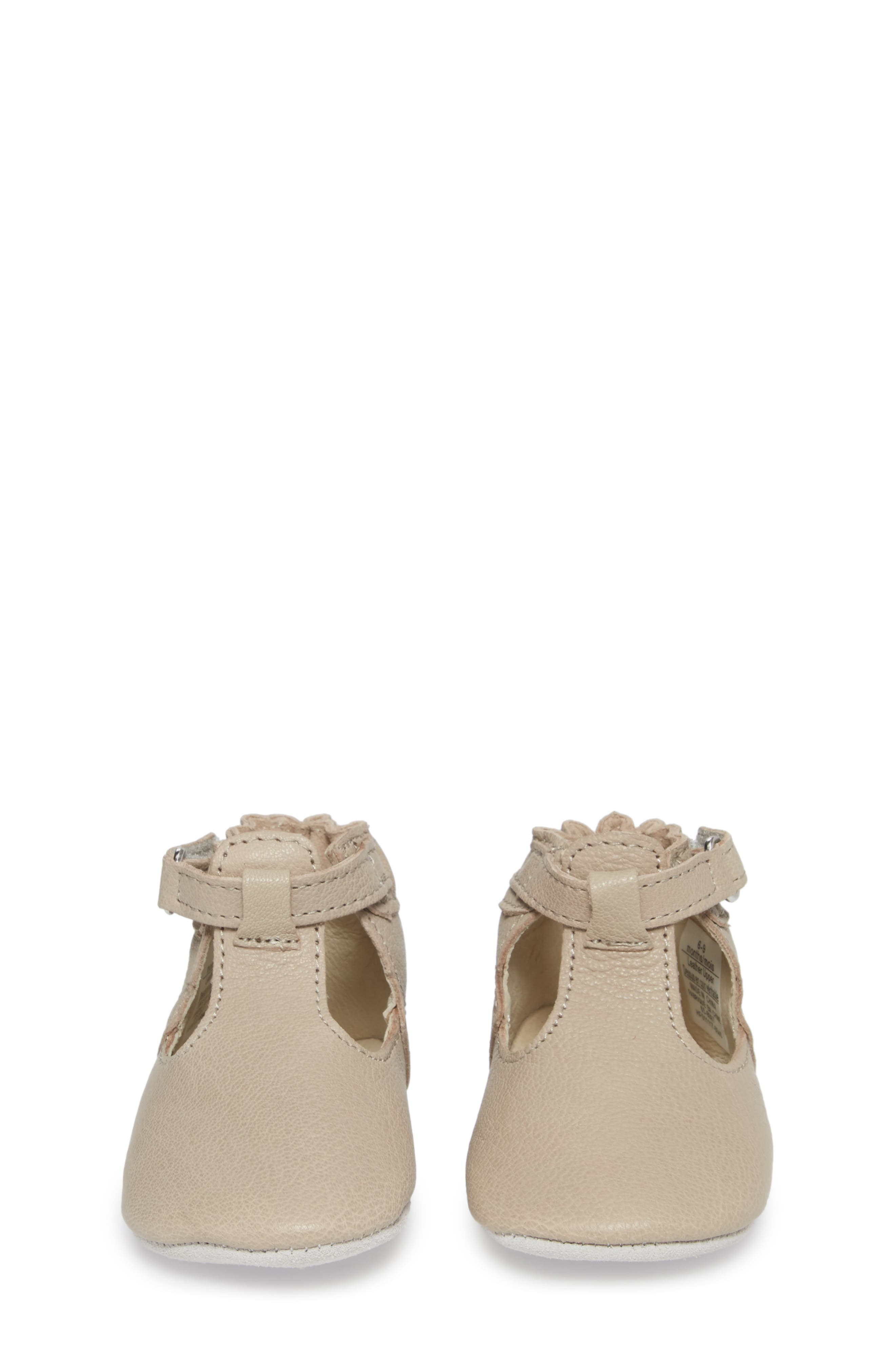 ROBEEZ<SUP>®</SUP>, Penny T-Strap Mary Jane Crib Shoe, Alternate thumbnail 4, color, TAUPE