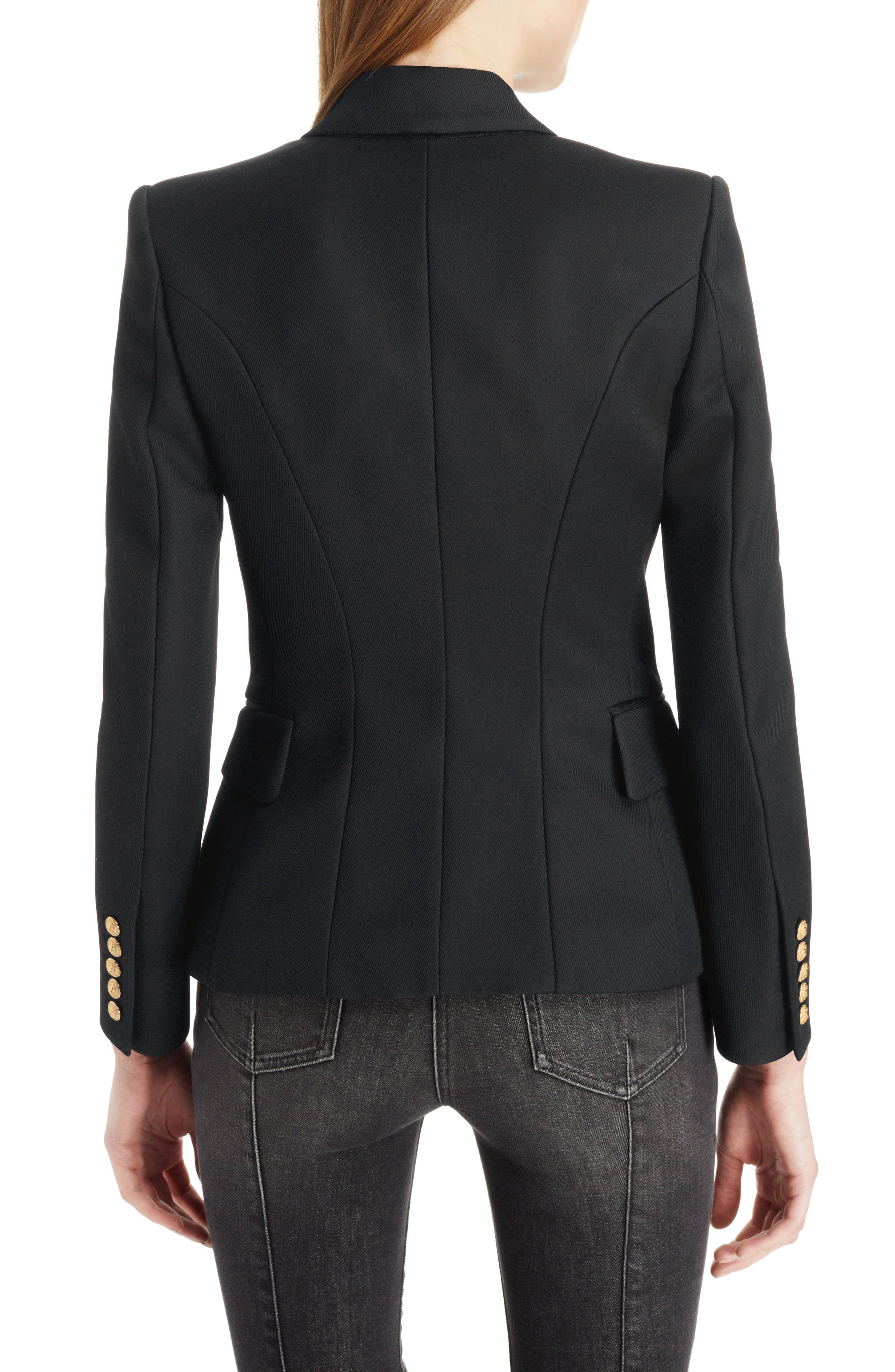 BALMAIN, Double Breasted Wool Blazer, Alternate thumbnail 2, color, BLACK/GOLD