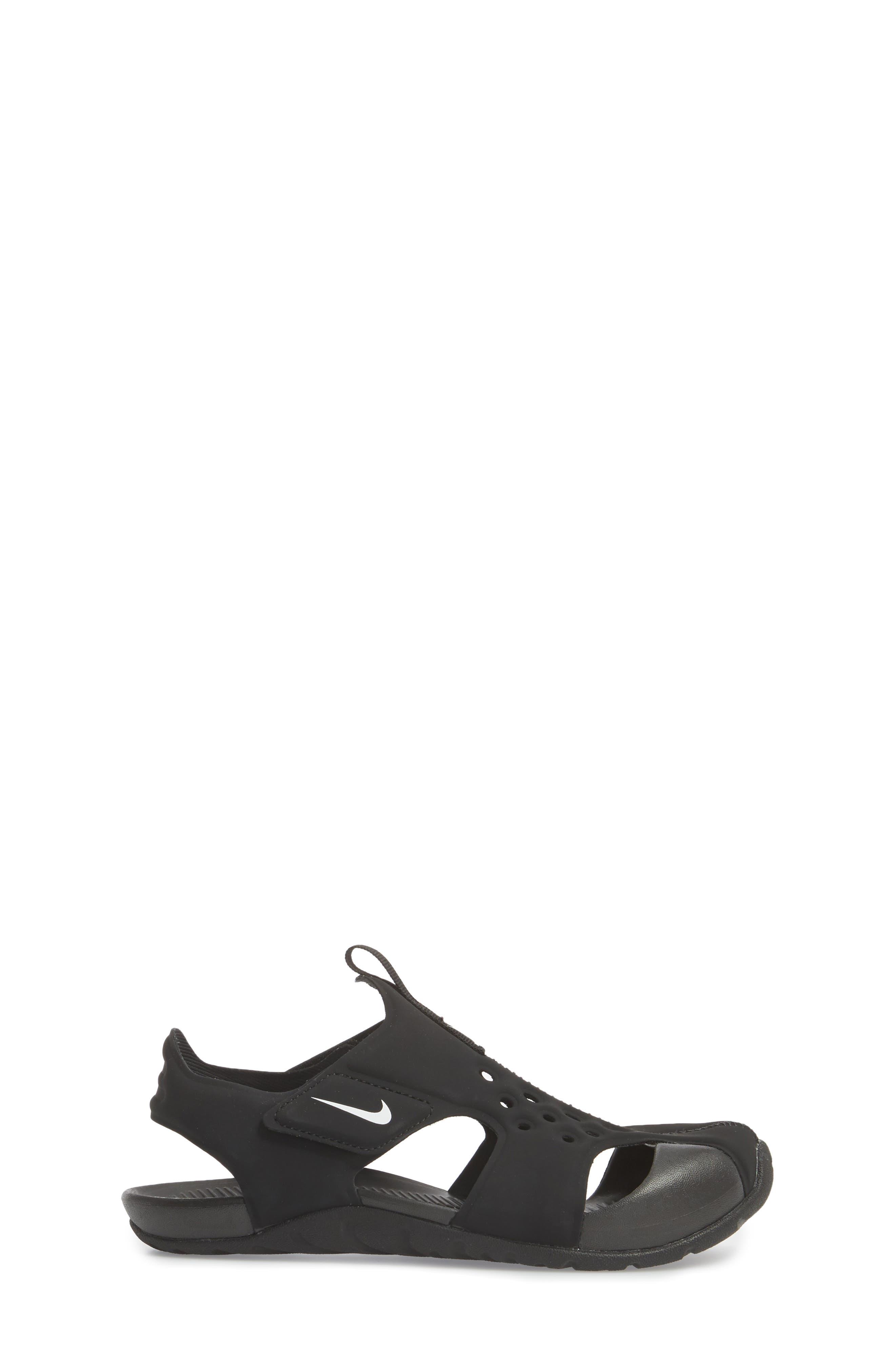 NIKE, Sunray Protect 2 Sandal, Alternate thumbnail 3, color, BLACK/ WHITE