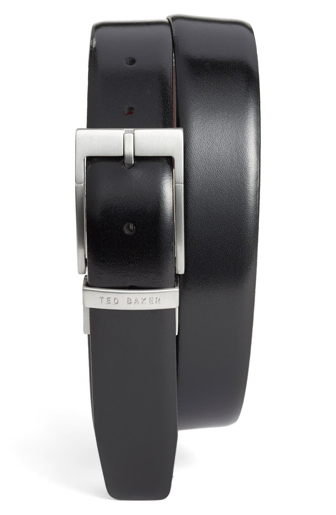 TED BAKER LONDON, Reversible Leather Belt, Main thumbnail 1, color, BLACK/ DARK BROWN