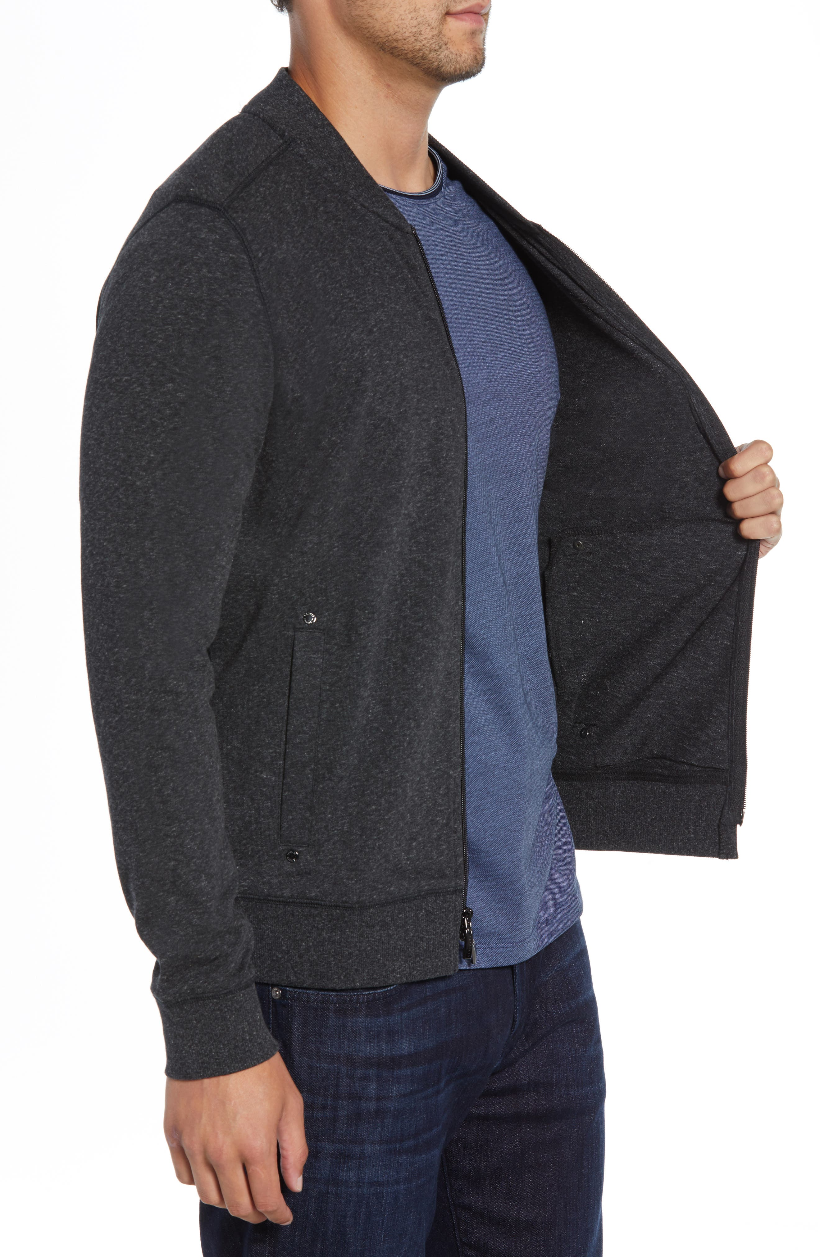 ROBERT BARAKETT, Front Zip Knit Jacket, Alternate thumbnail 3, color, BLACK