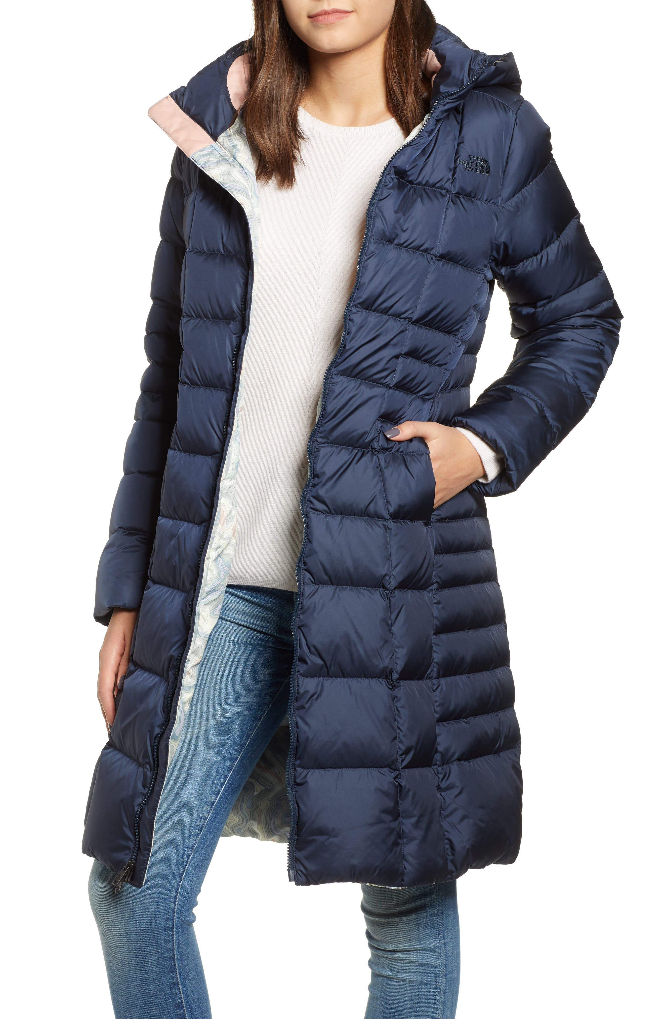 THE NORTH FACE, Metropolis II Hooded Water Resistant Down Parka, Main thumbnail 1, color, URBAN NAVY/ MULTI TOPO PRINT