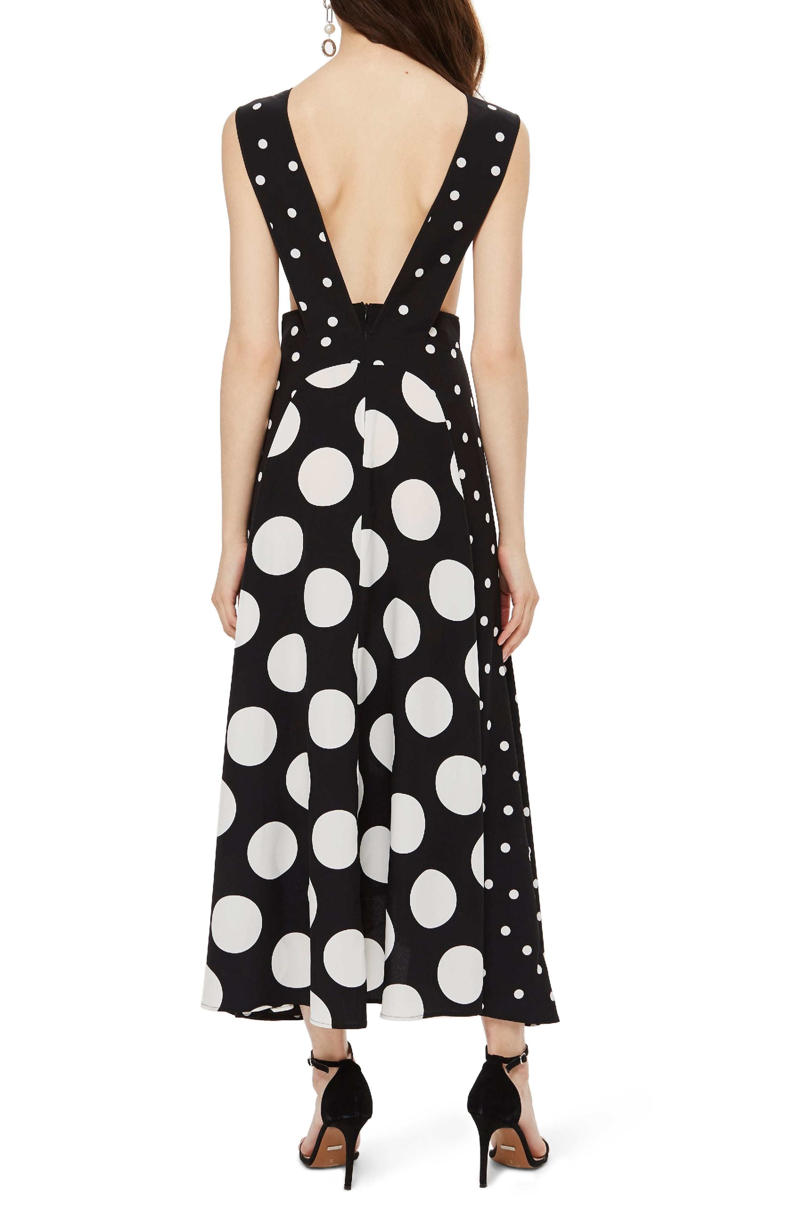 TOPSHOP, Spot Plunge Neck Midi Dress, Alternate thumbnail 2, color, 001