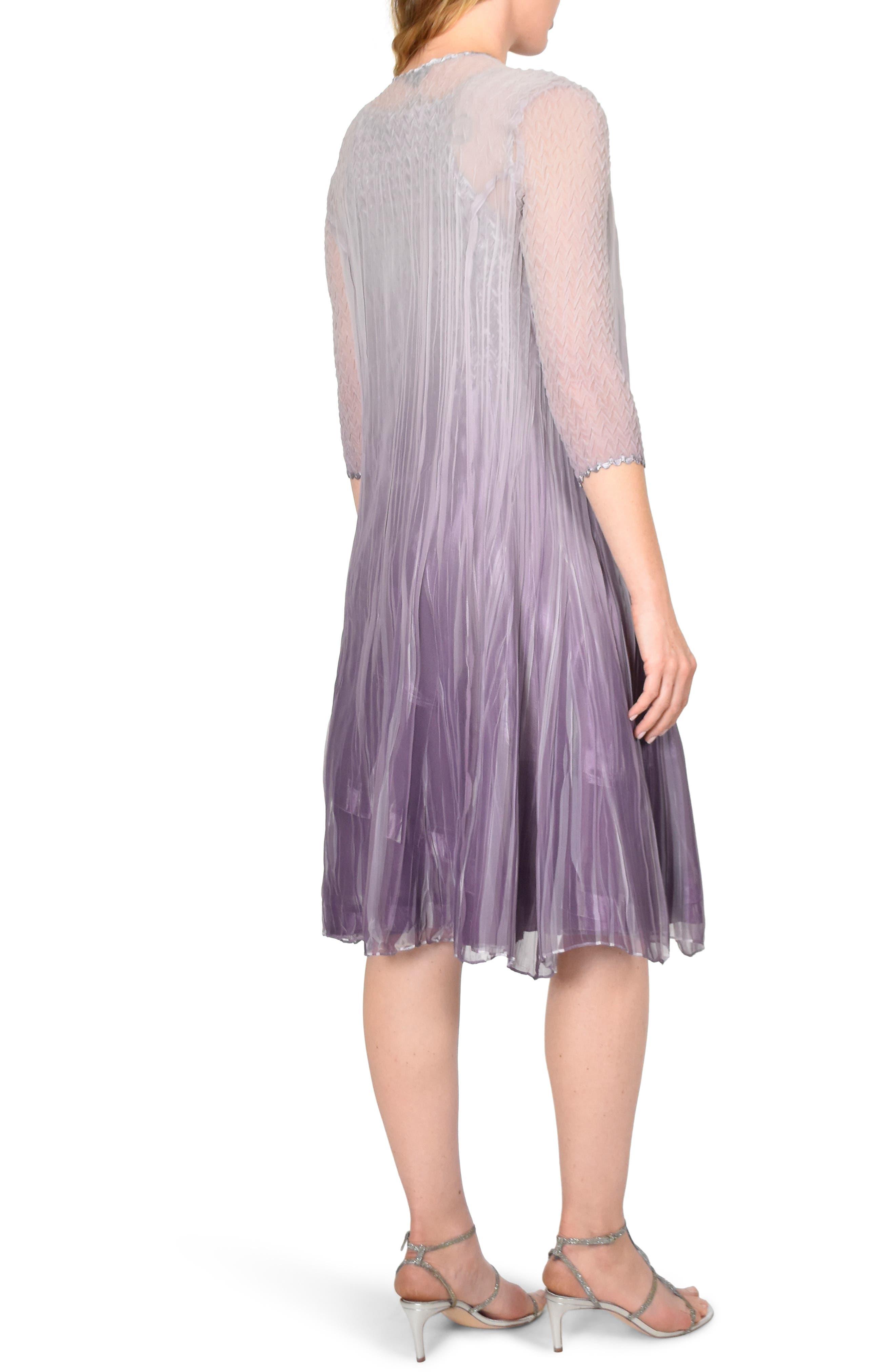 KOMAROV, Komorav Charmeuse Dress with Cascade Jacket, Alternate thumbnail 2, color, GREY VIOLET ORCHID OMBRE