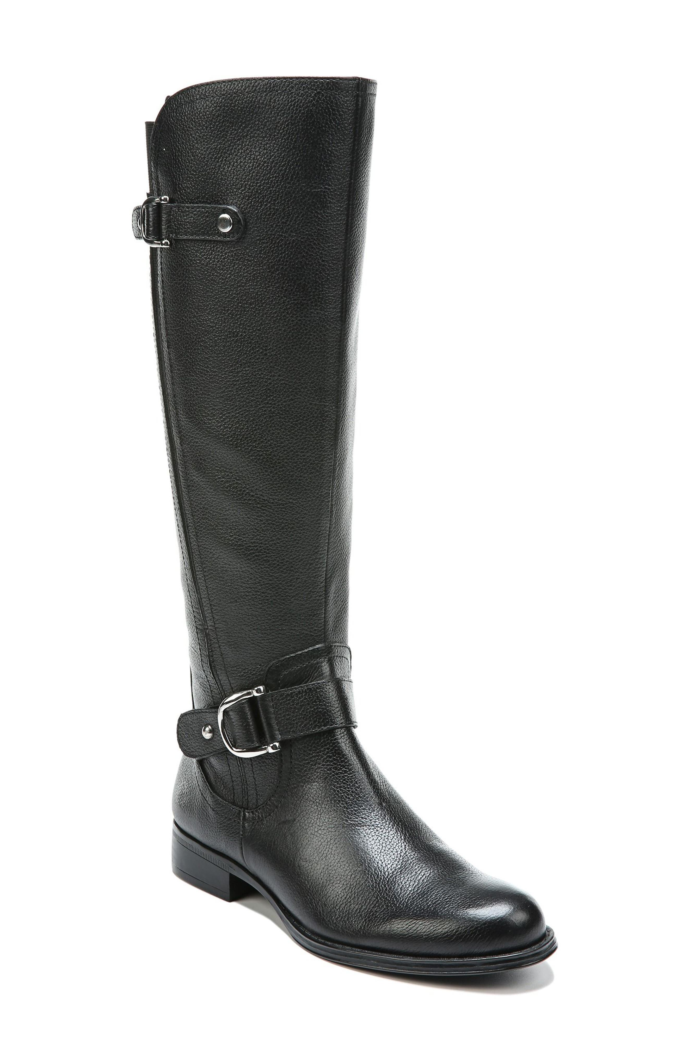 NATURALIZER, Jenelle Tall Boot, Main thumbnail 1, color, BLACK LEATHER